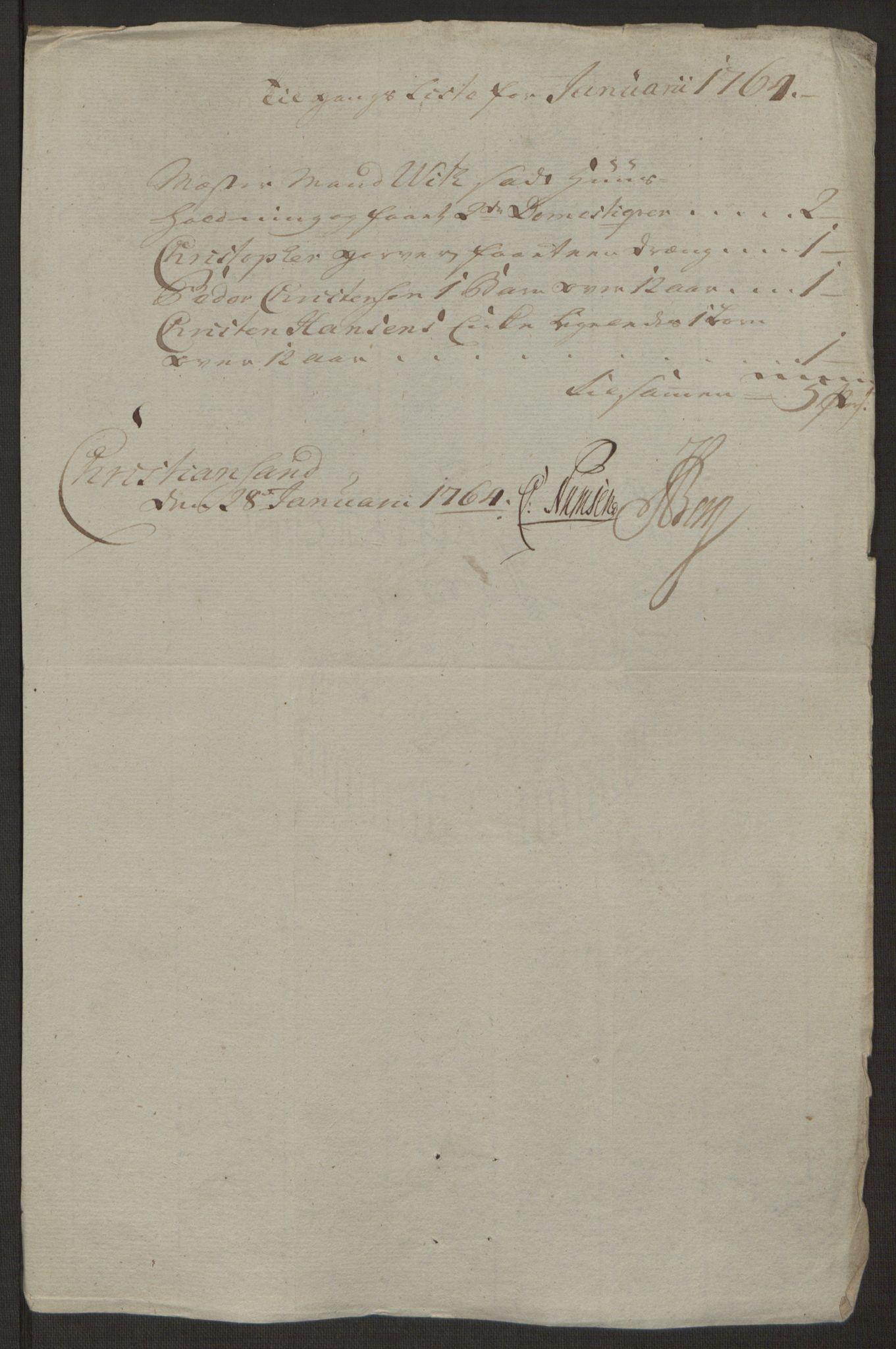 RA, Rentekammeret inntil 1814, Reviderte regnskaper, Byregnskaper, R/Rm/L0265: [M6] Kontribusjonsregnskap, 1762-1764, s. 193