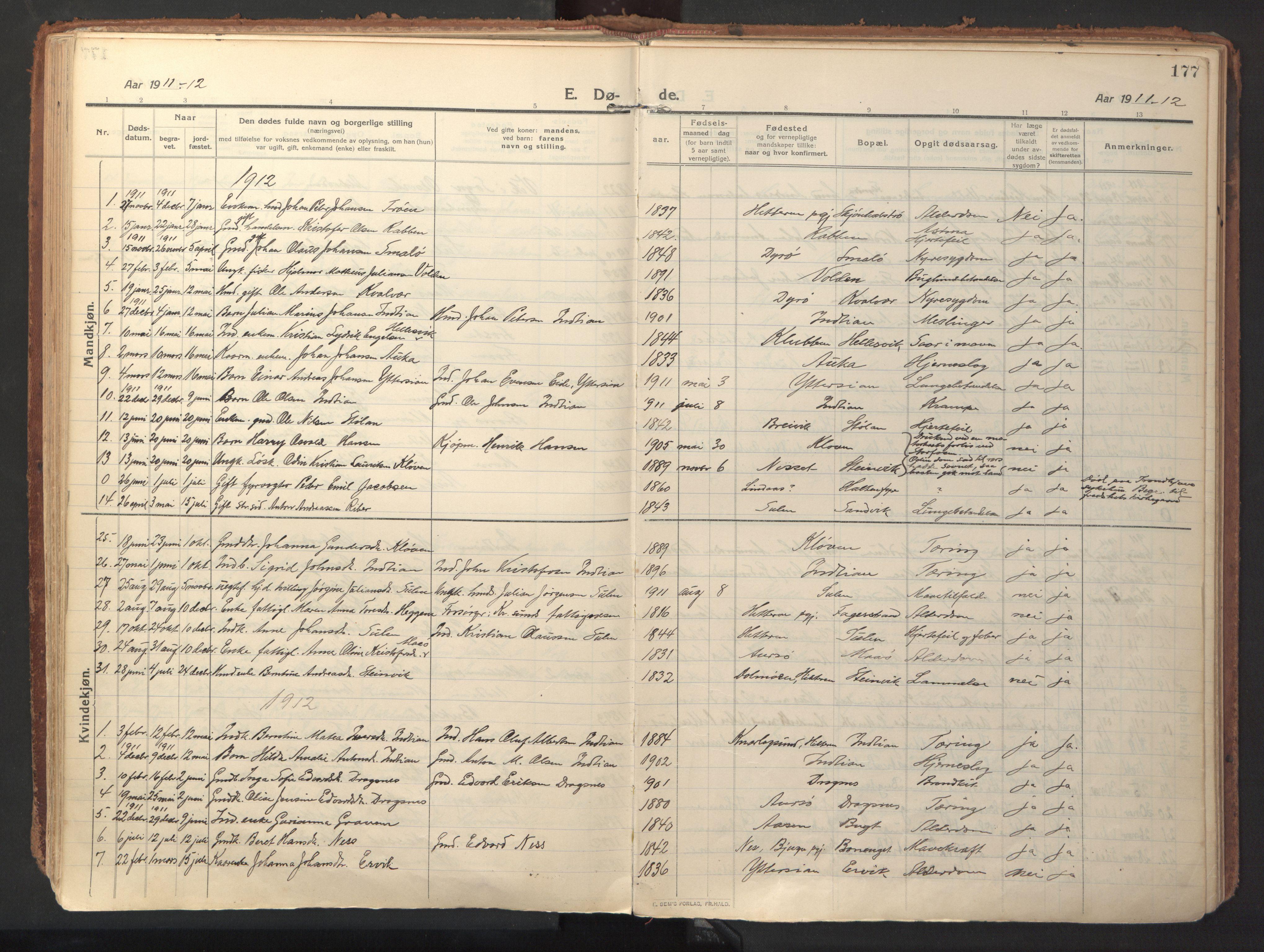 SAT, Ministerialprotokoller, klokkerbøker og fødselsregistre - Sør-Trøndelag, 640/L0581: Ministerialbok nr. 640A06, 1910-1924, s. 177