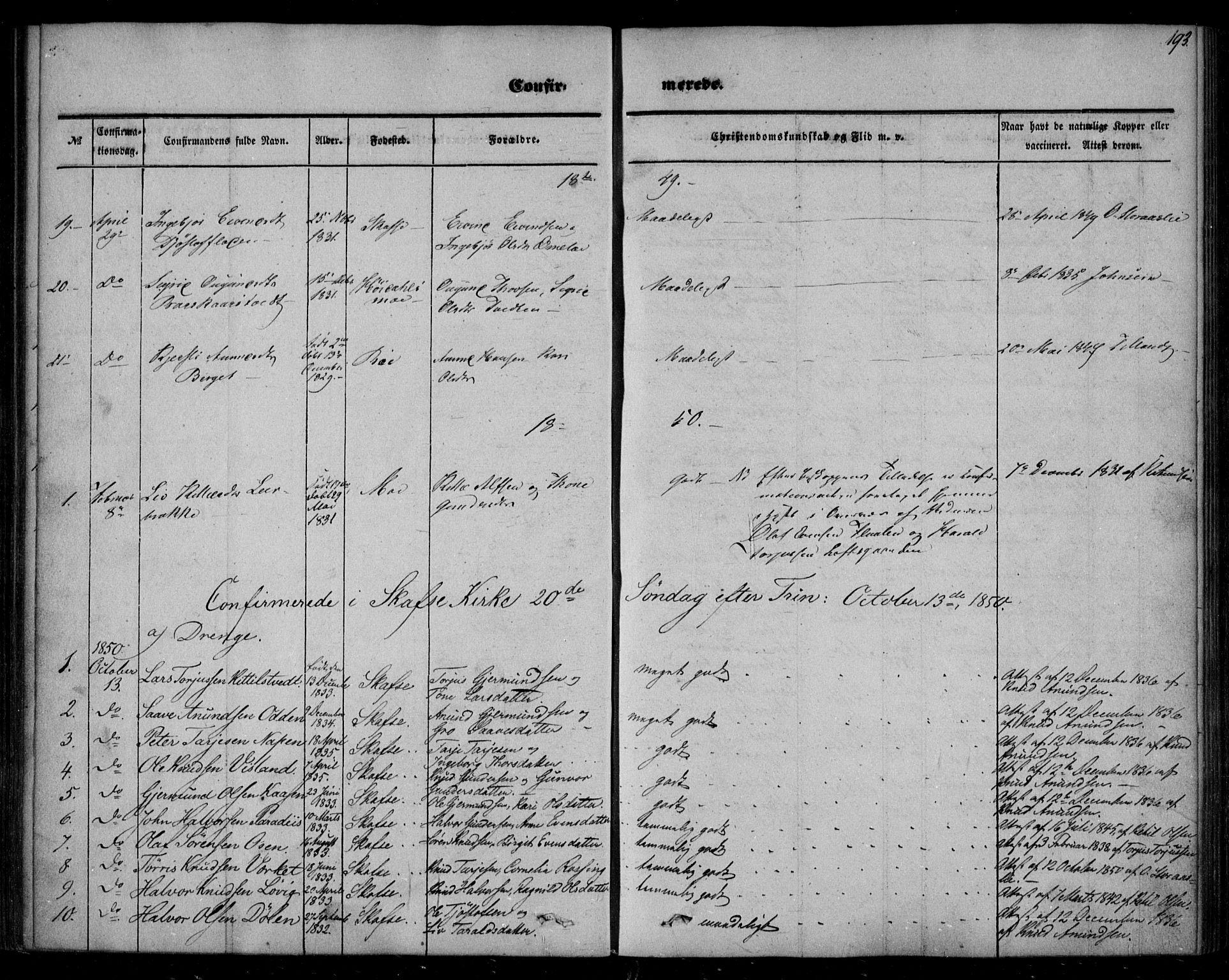 SAKO, Mo kirkebøker, F/Fa/L0005: Ministerialbok nr. I 5, 1844-1864, s. 193