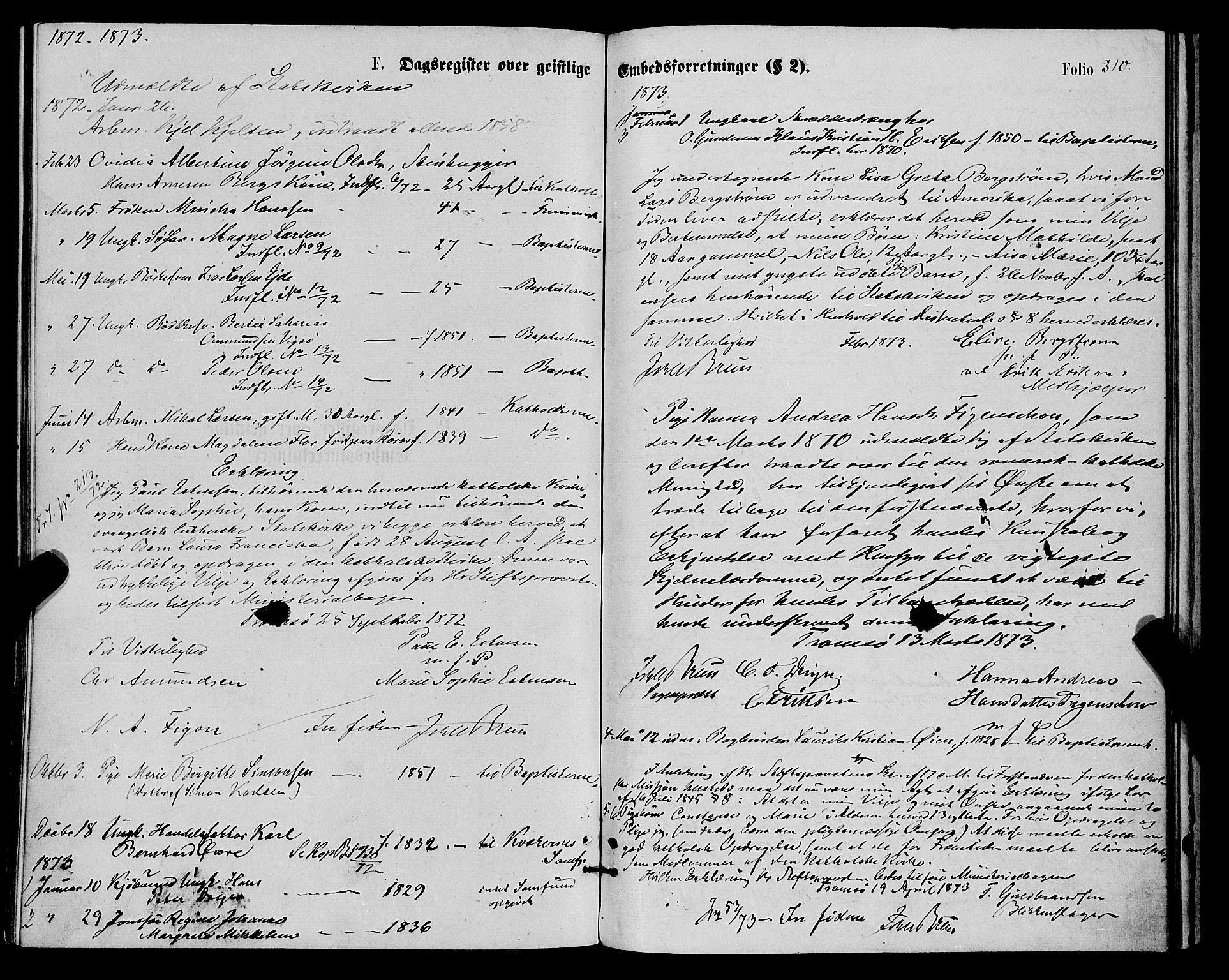 SATØ, Tromsø sokneprestkontor/stiftsprosti/domprosti, G/Ga/L0013kirke: Ministerialbok nr. 13, 1872-1877, s. 310