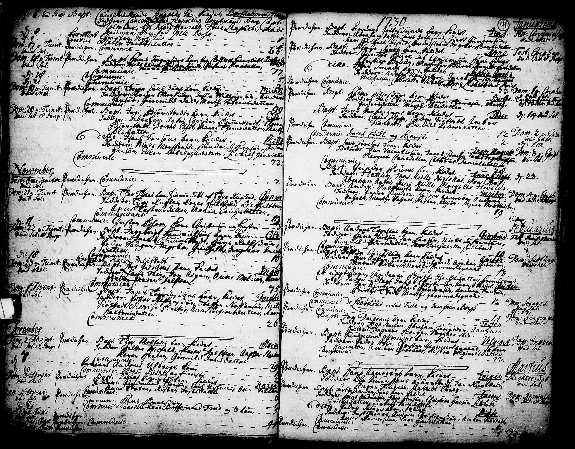 SAKO, Solum kirkebøker, F/Fa/L0002: Ministerialbok nr. I 2, 1713-1761, s. 41