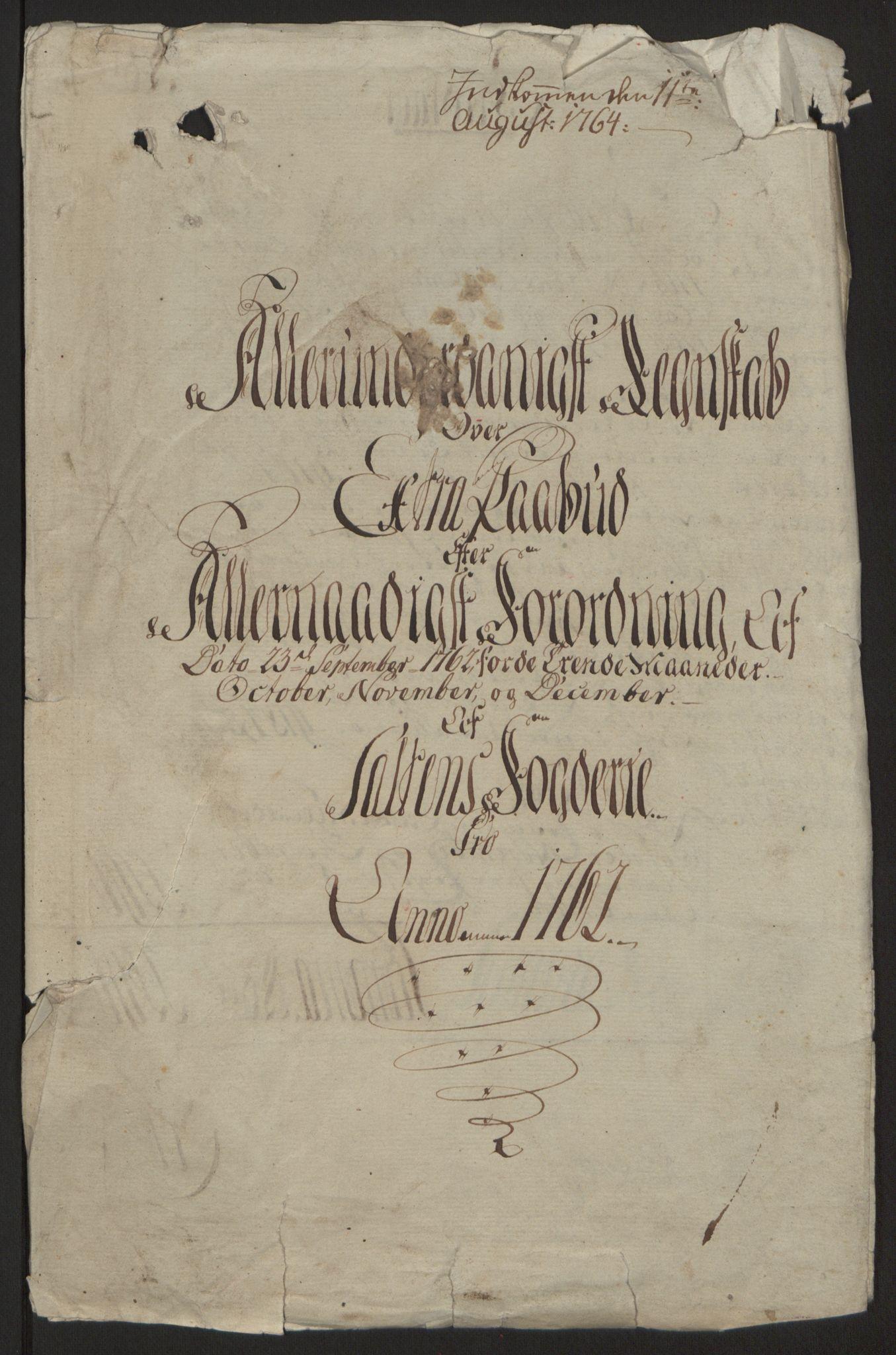 RA, Rentekammeret inntil 1814, Reviderte regnskaper, Fogderegnskap, R66/L4670: Ekstraskatten Salten, 1762-1764, s. 4