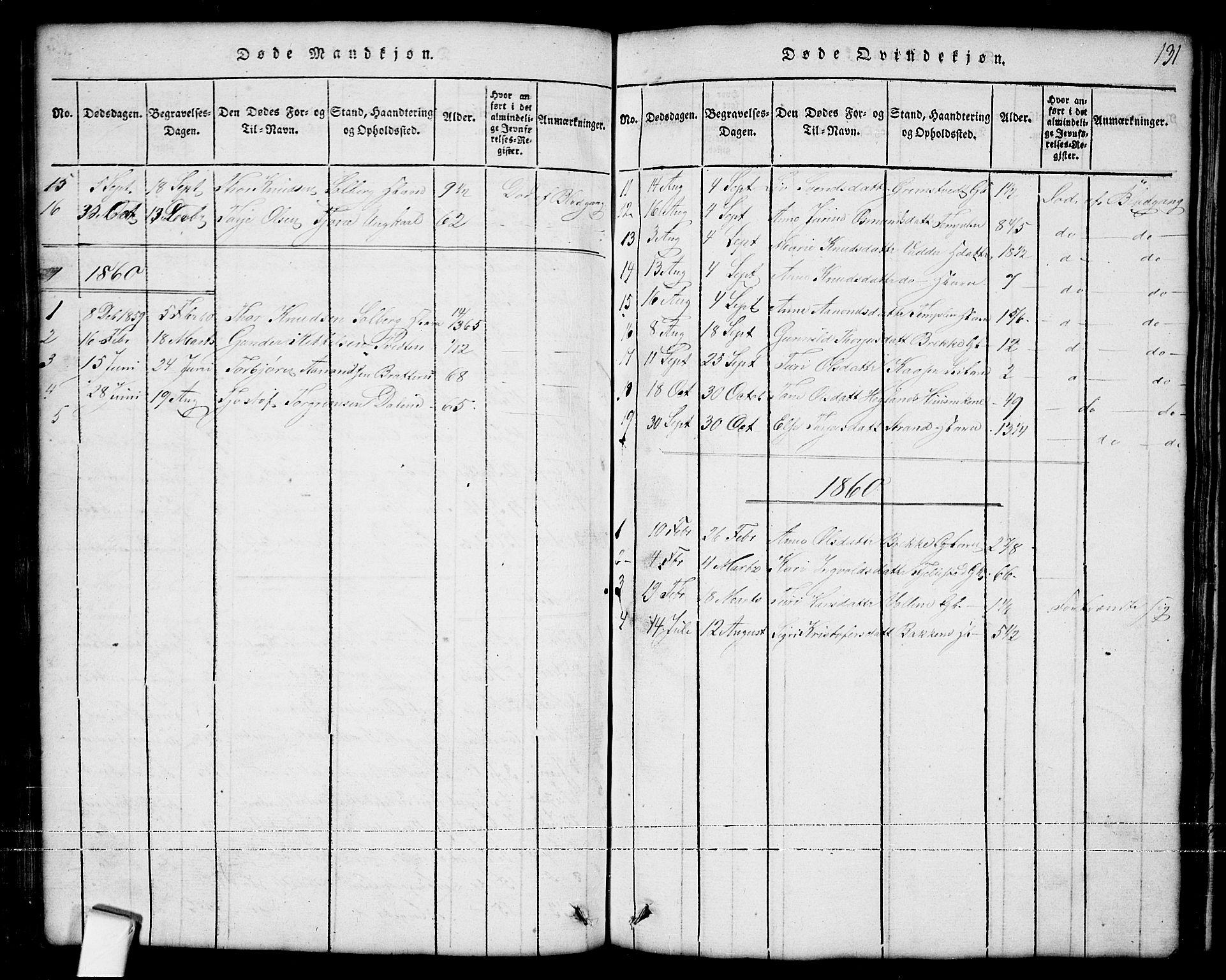SAKO, Nissedal kirkebøker, G/Ga/L0001: Klokkerbok nr. I 1, 1814-1860, s. 131