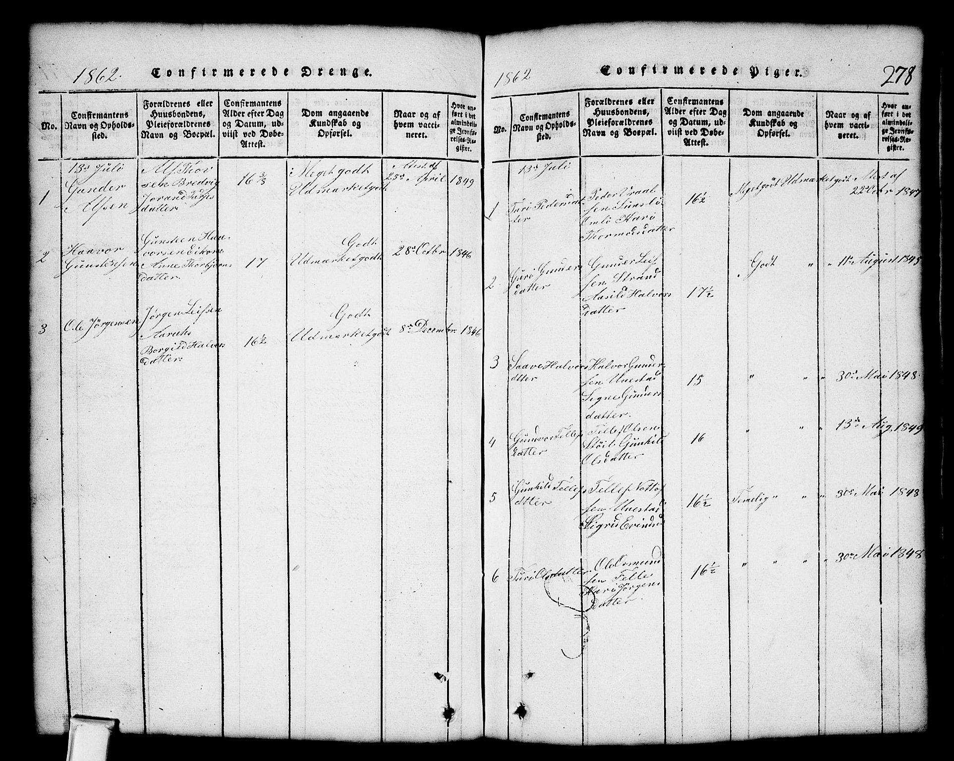 SAKO, Nissedal kirkebøker, G/Gb/L0001: Klokkerbok nr. II 1, 1814-1862, s. 278