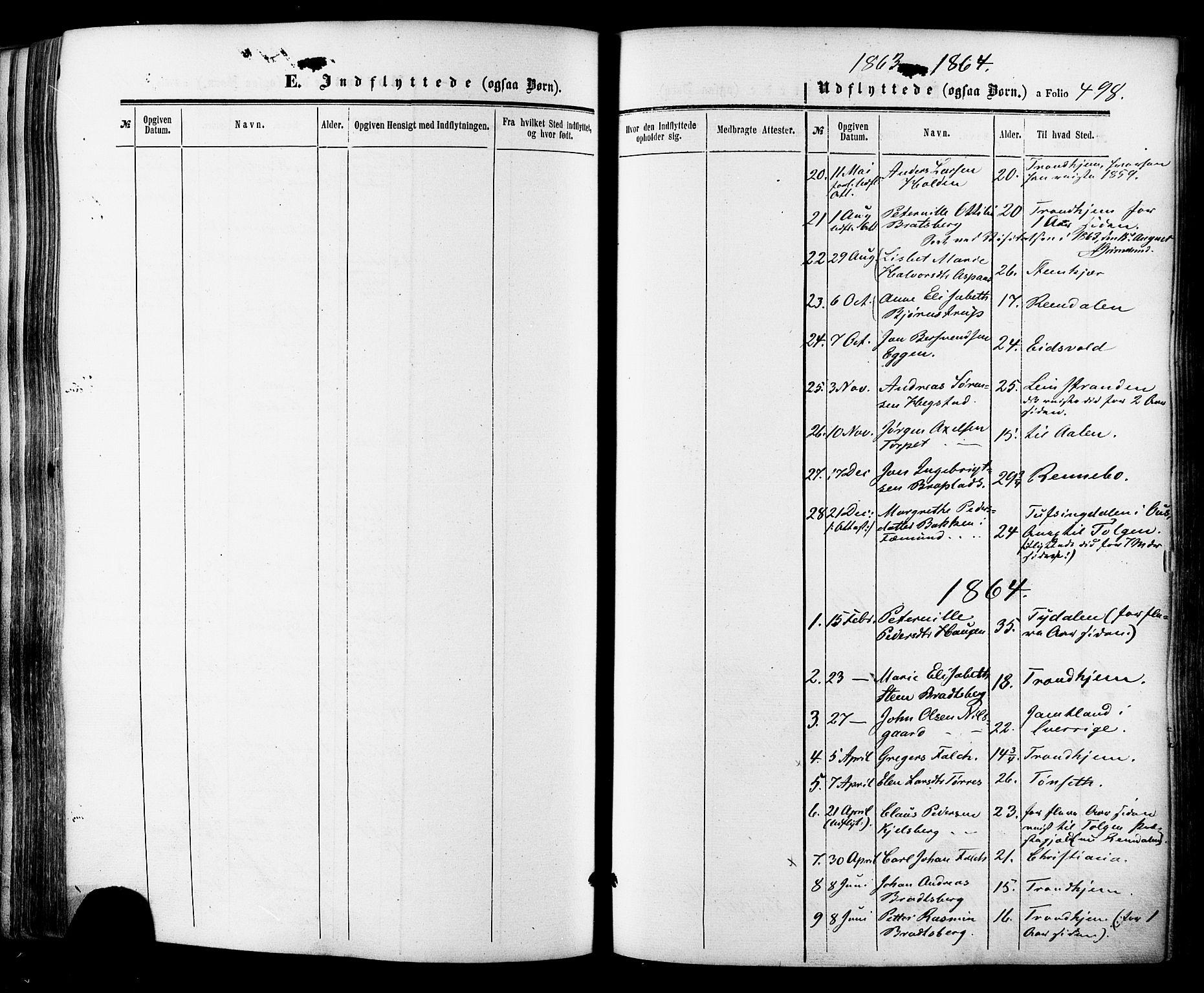 SAT, Ministerialprotokoller, klokkerbøker og fødselsregistre - Sør-Trøndelag, 681/L0932: Ministerialbok nr. 681A10, 1860-1878, s. 498