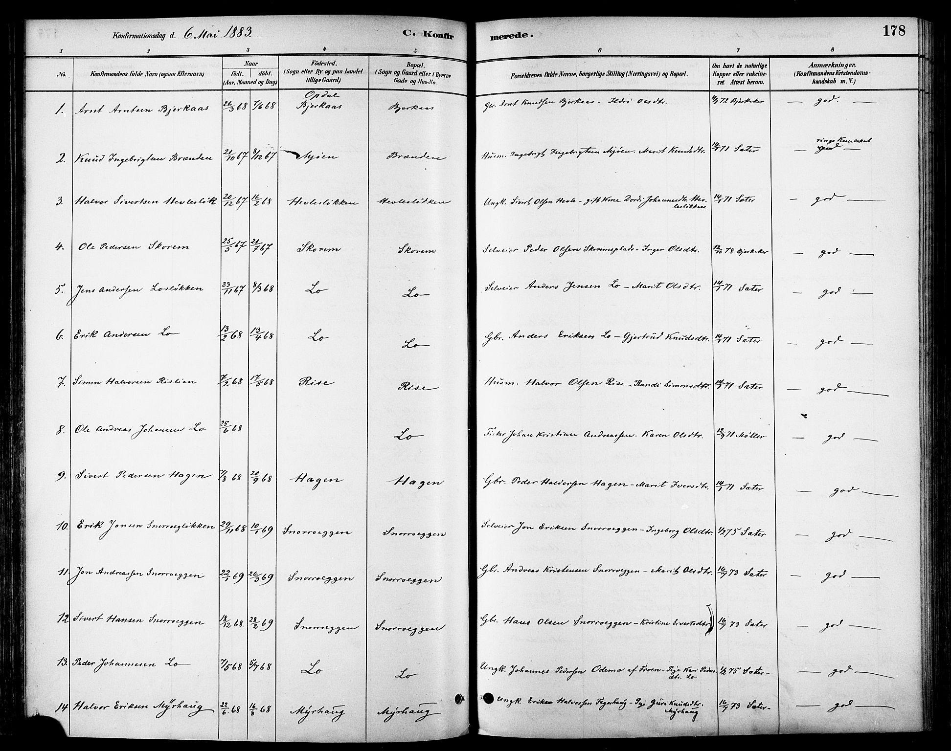 SAT, Ministerialprotokoller, klokkerbøker og fødselsregistre - Sør-Trøndelag, 678/L0901: Ministerialbok nr. 678A10, 1881-1894, s. 178
