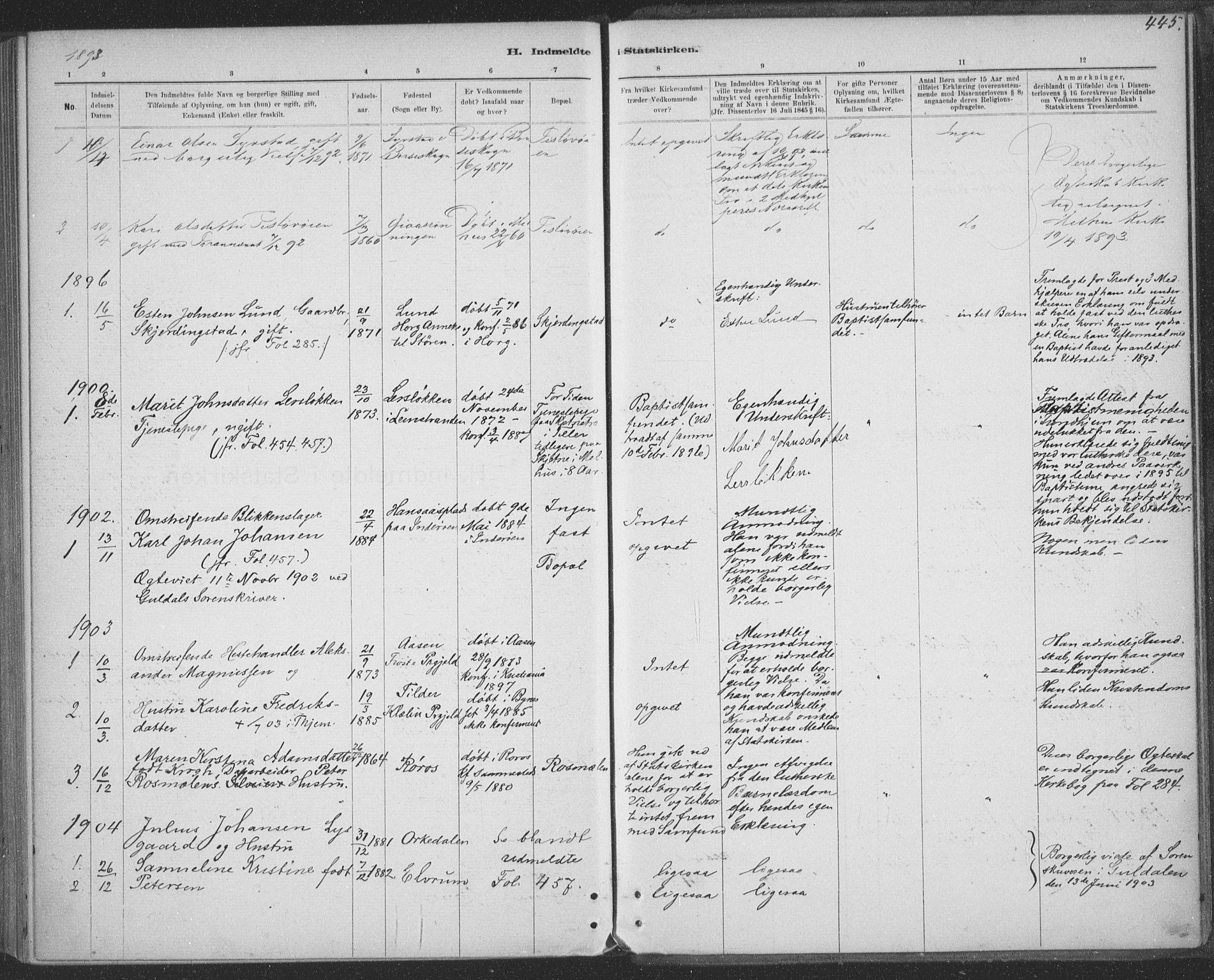 SAT, Ministerialprotokoller, klokkerbøker og fødselsregistre - Sør-Trøndelag, 691/L1085: Ministerialbok nr. 691A17, 1887-1908, s. 445