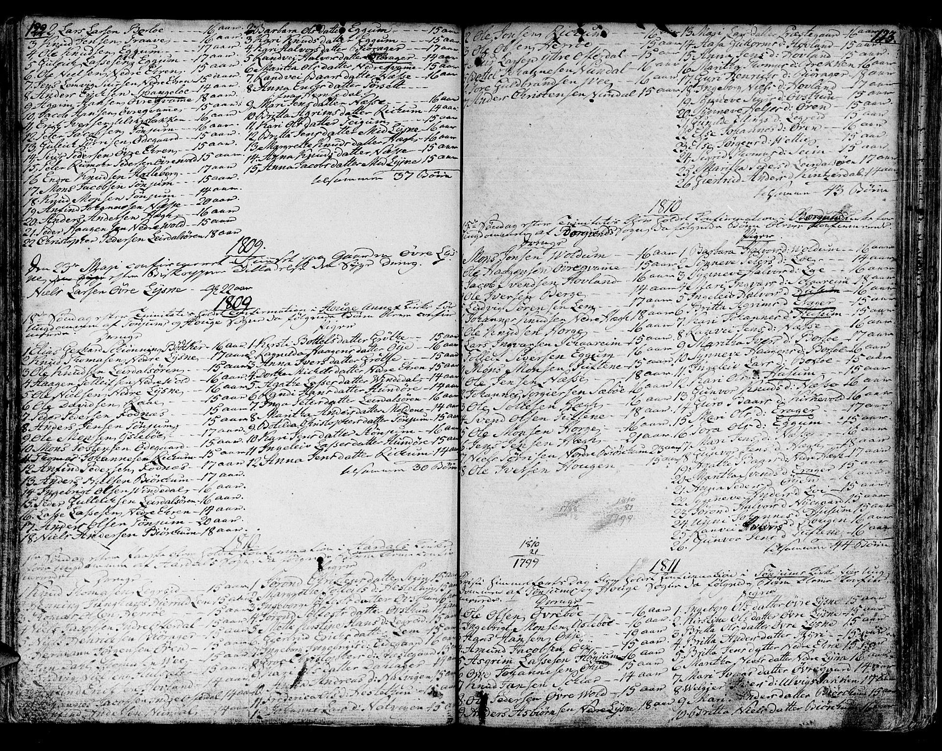 SAB, Lærdal sokneprestembete, Ministerialbok nr. A 4, 1805-1821, s. 122-123