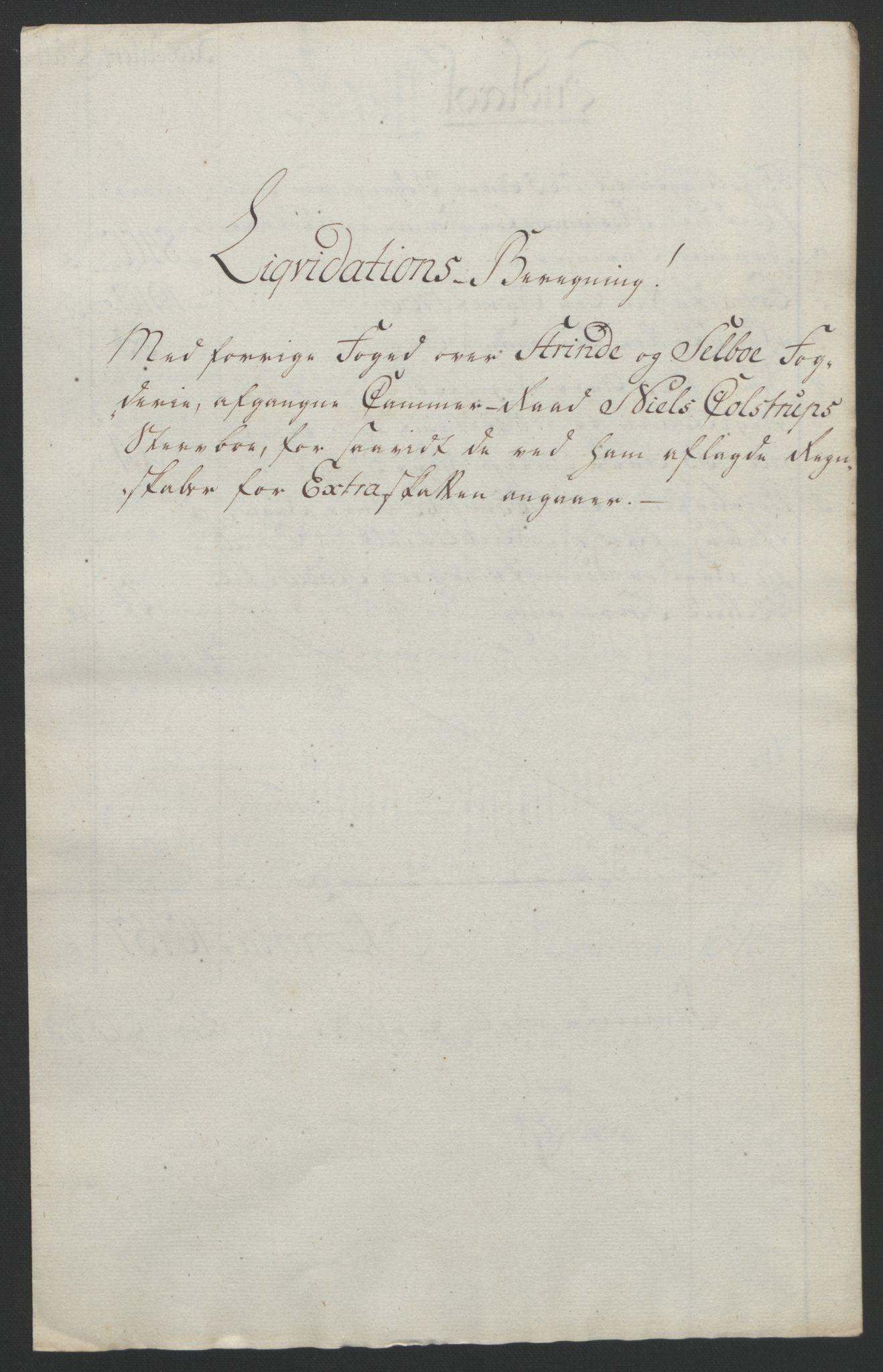 RA, Rentekammeret inntil 1814, Reviderte regnskaper, Fogderegnskap, R61/L4180: Ekstraskatten Strinda og Selbu, 1762-1767, s. 338