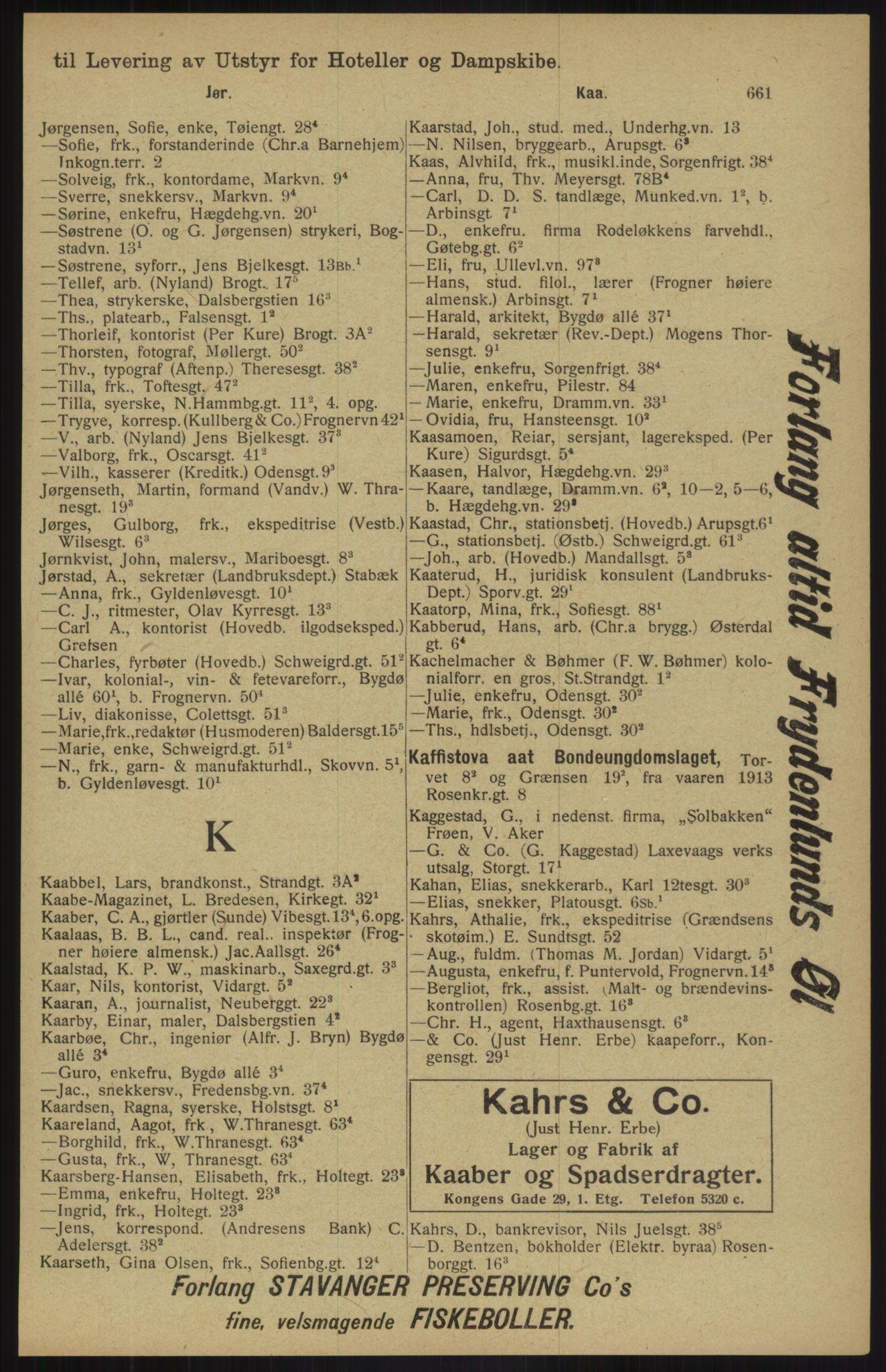 RA, Kristiania adressebok (publikasjon)*, 1913, s. 661