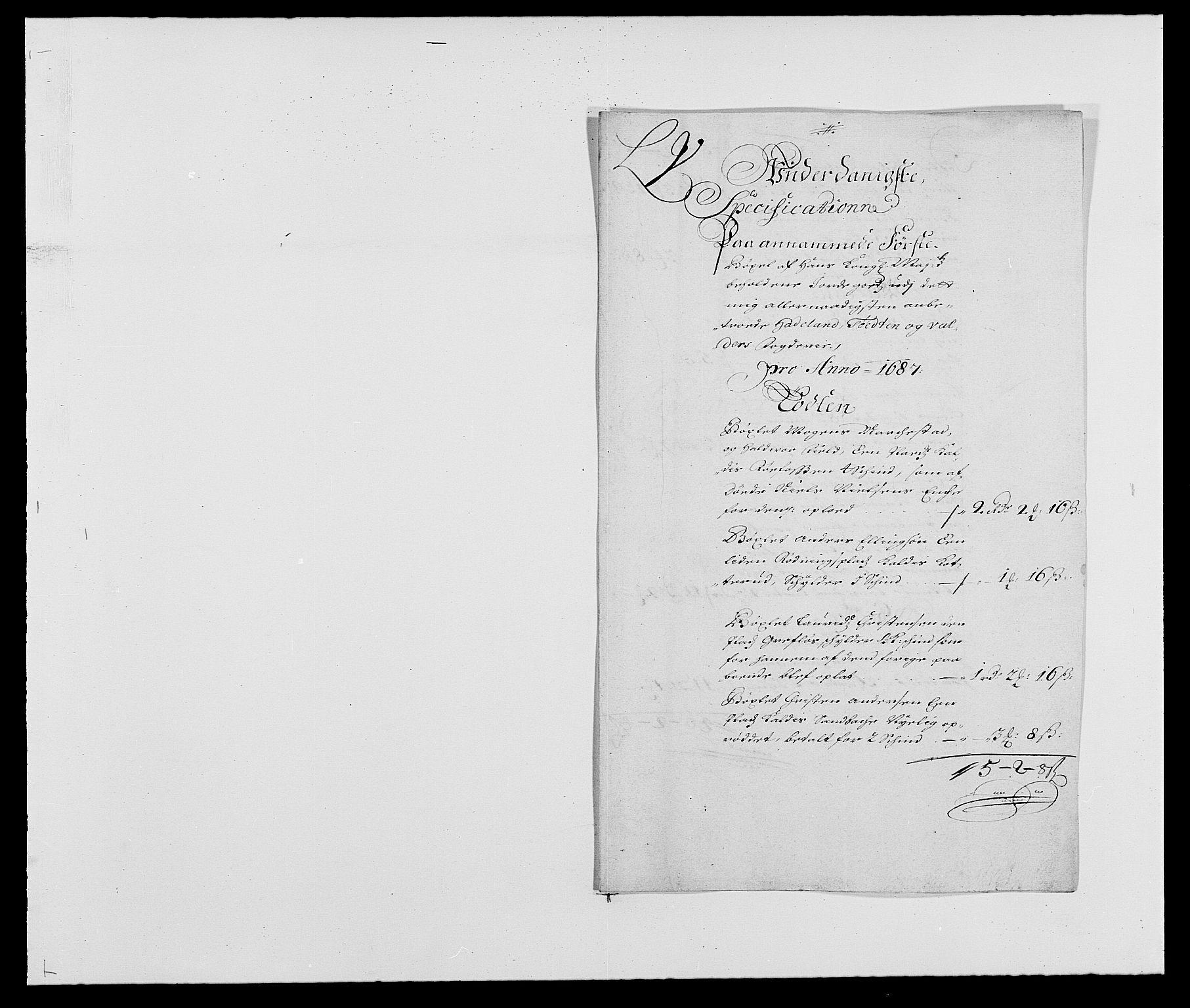 RA, Rentekammeret inntil 1814, Reviderte regnskaper, Fogderegnskap, R18/L1286: Fogderegnskap Hadeland, Toten og Valdres, 1687, s. 99