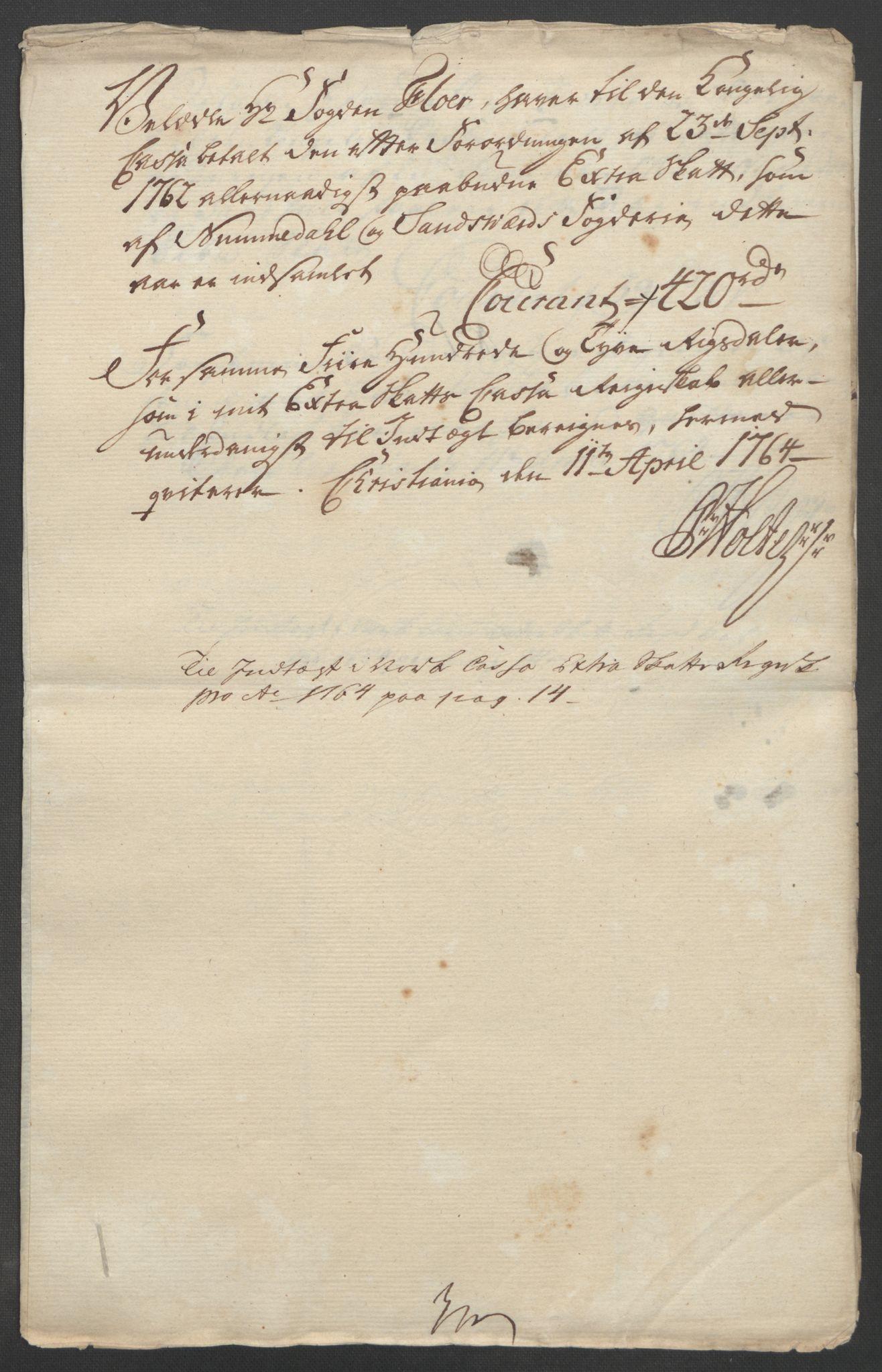 RA, Rentekammeret inntil 1814, Reviderte regnskaper, Fogderegnskap, R24/L1672: Ekstraskatten Numedal og Sandsvær, 1762-1767, s. 243