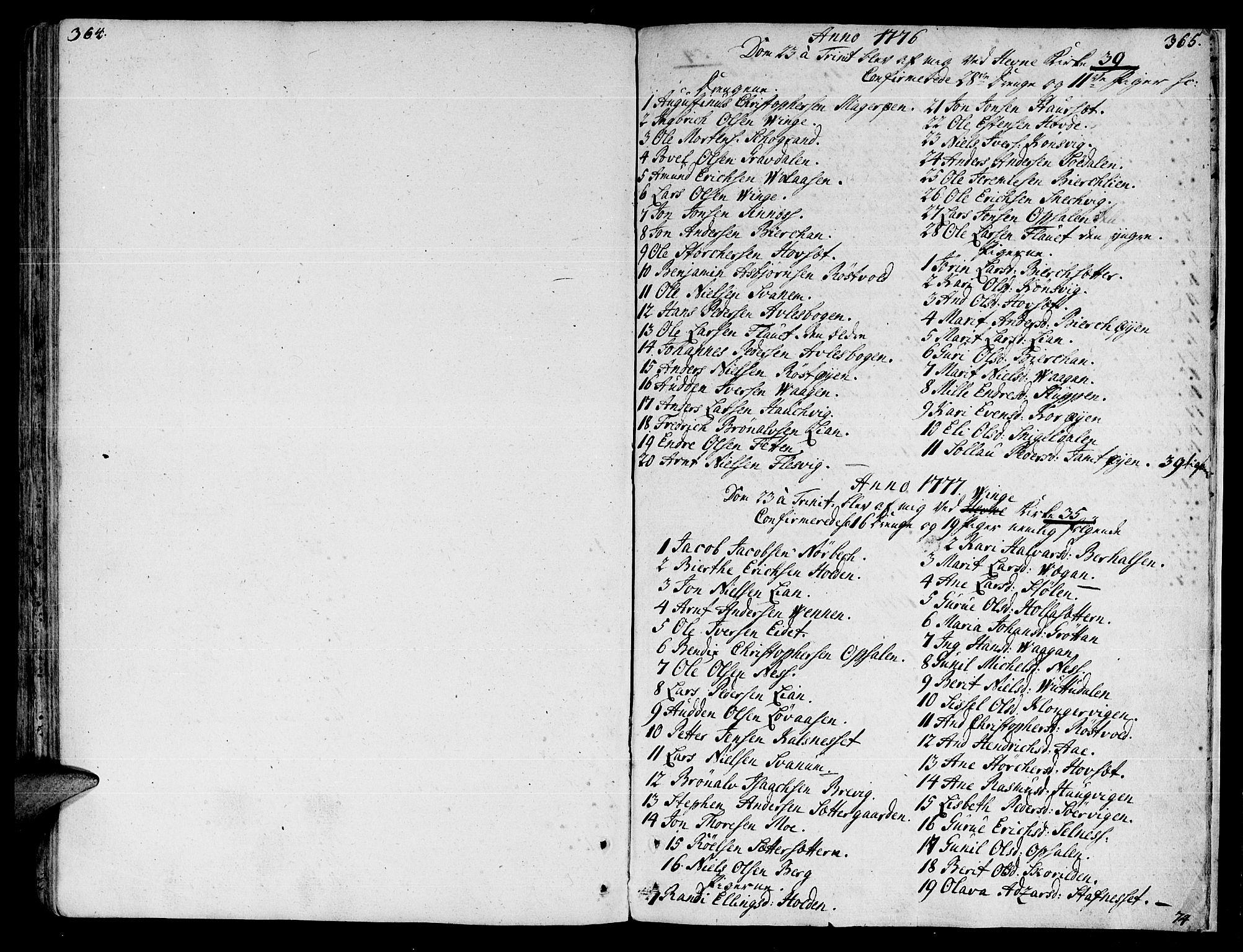 SAT, Ministerialprotokoller, klokkerbøker og fødselsregistre - Sør-Trøndelag, 630/L0489: Ministerialbok nr. 630A02, 1757-1794, s. 364-365