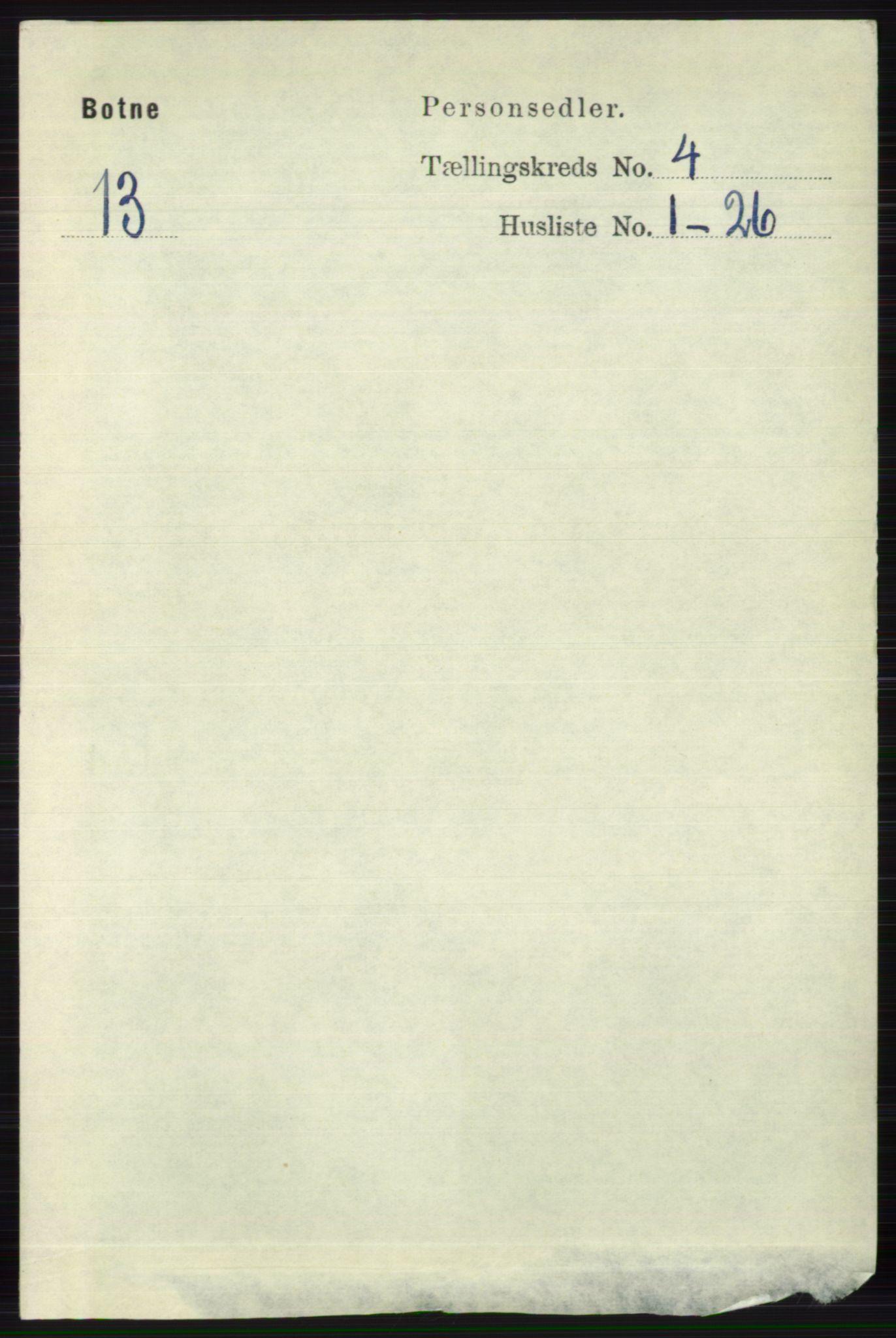 RA, Folketelling 1891 for 0715 Botne herred, 1891, s. 1599