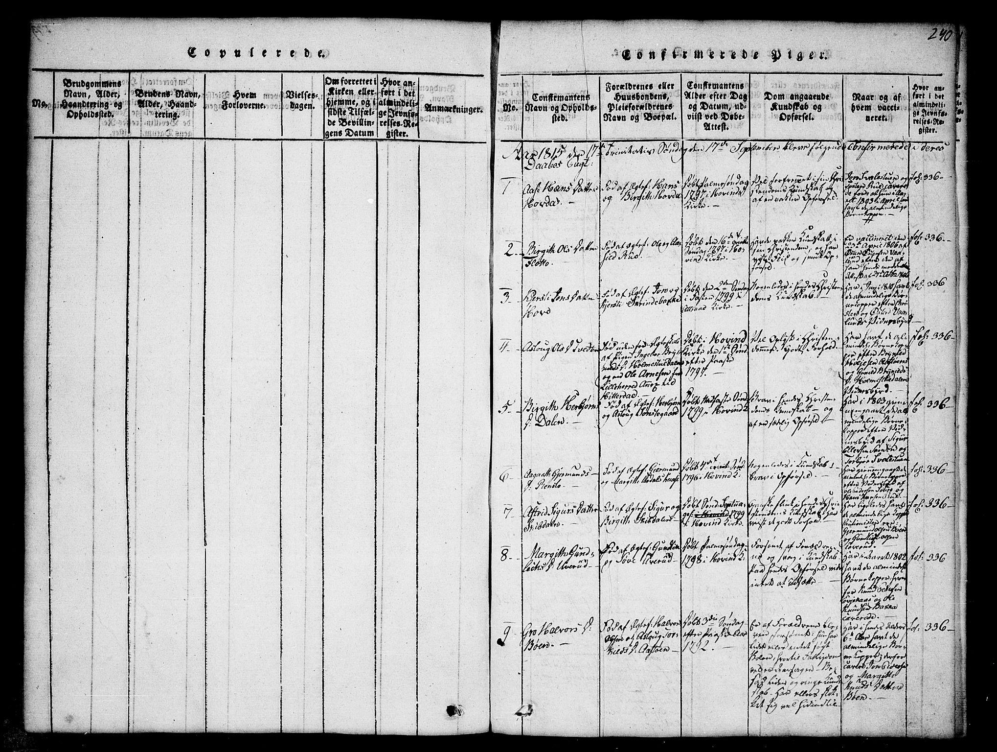 SAKO, Gransherad kirkebøker, G/Gb/L0001: Klokkerbok nr. II 1, 1815-1860, s. 240