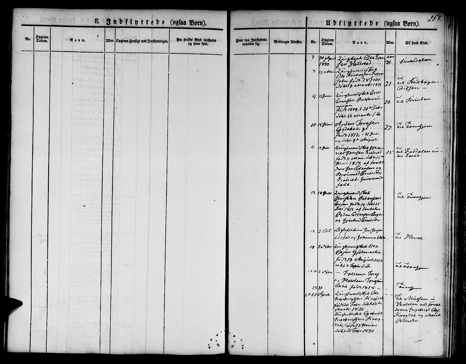 SAT, Ministerialprotokoller, klokkerbøker og fødselsregistre - Sør-Trøndelag, 668/L0804: Ministerialbok nr. 668A04, 1826-1839, s. 258