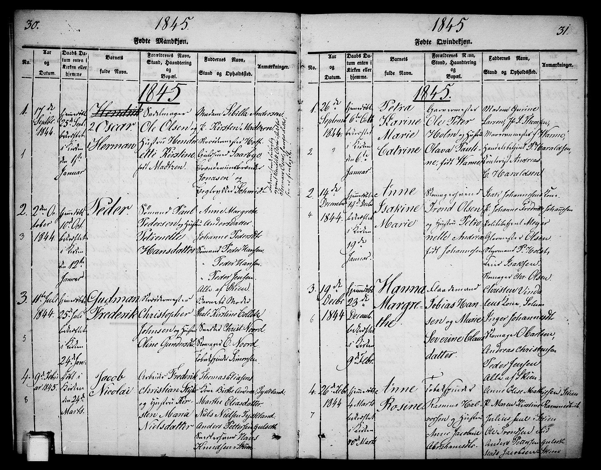 SAKO, Skien kirkebøker, G/Ga/L0003: Klokkerbok nr. 3, 1843-1847, s. 30-31