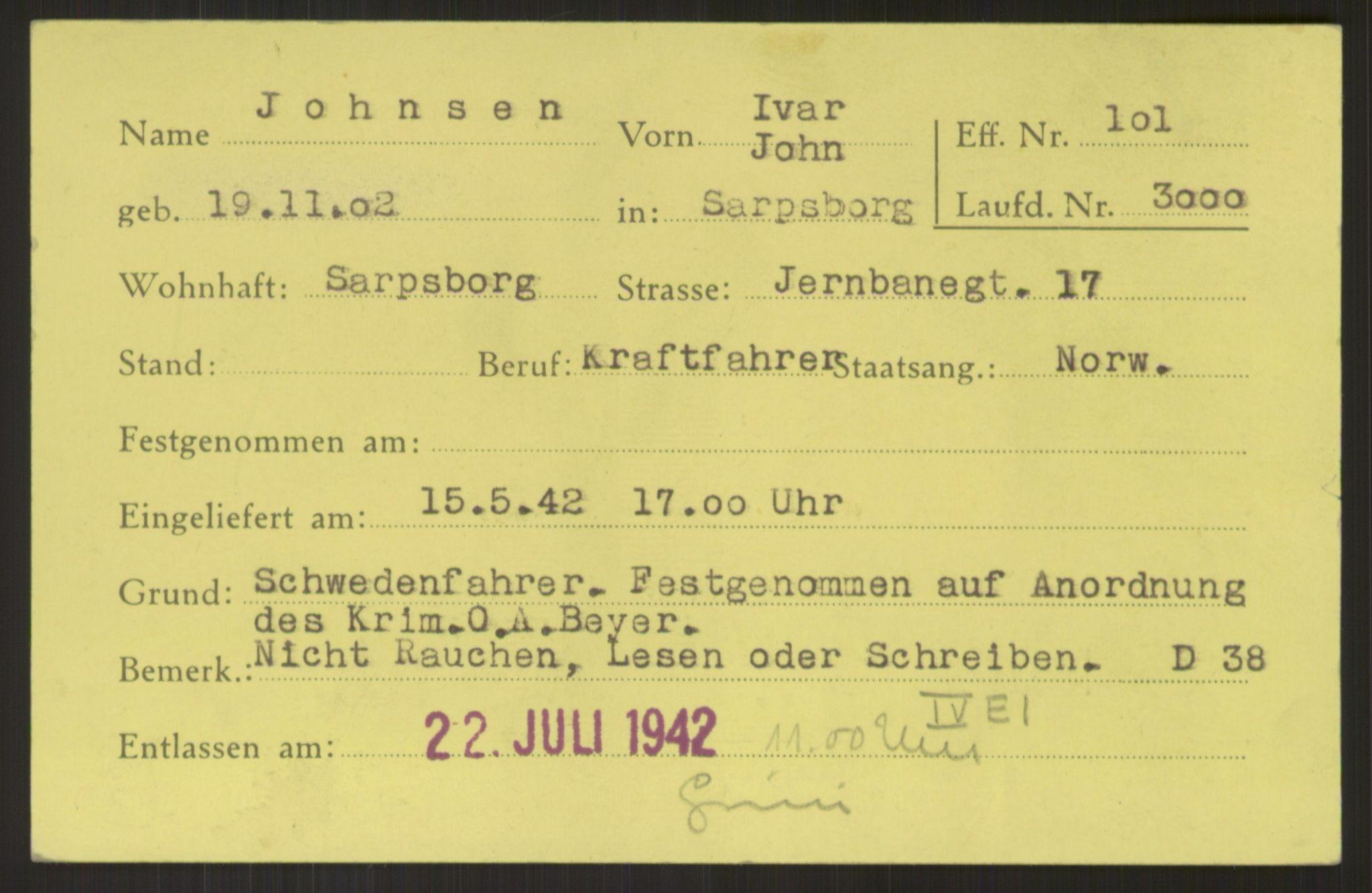 RA, Befehlshaber der Sicherheitspolizei und des SD, E/Ea/Eab/L0003: Register over norske fanger i Møllergata 19 ordnet etter fangenummer: 3000-3919, 1940-1945