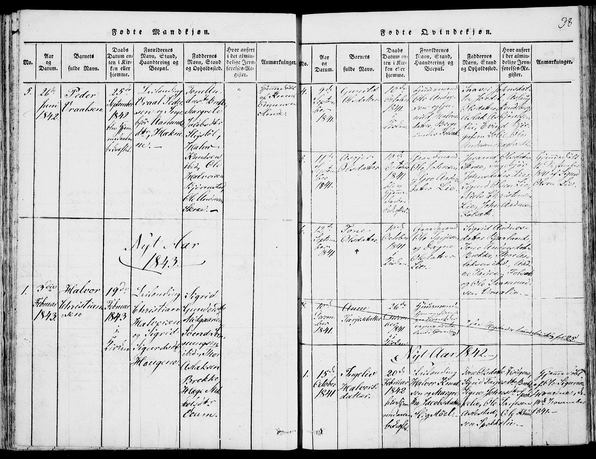SAKO, Fyresdal kirkebøker, F/Fb/L0001: Ministerialbok nr. II 1, 1815-1854, s. 38