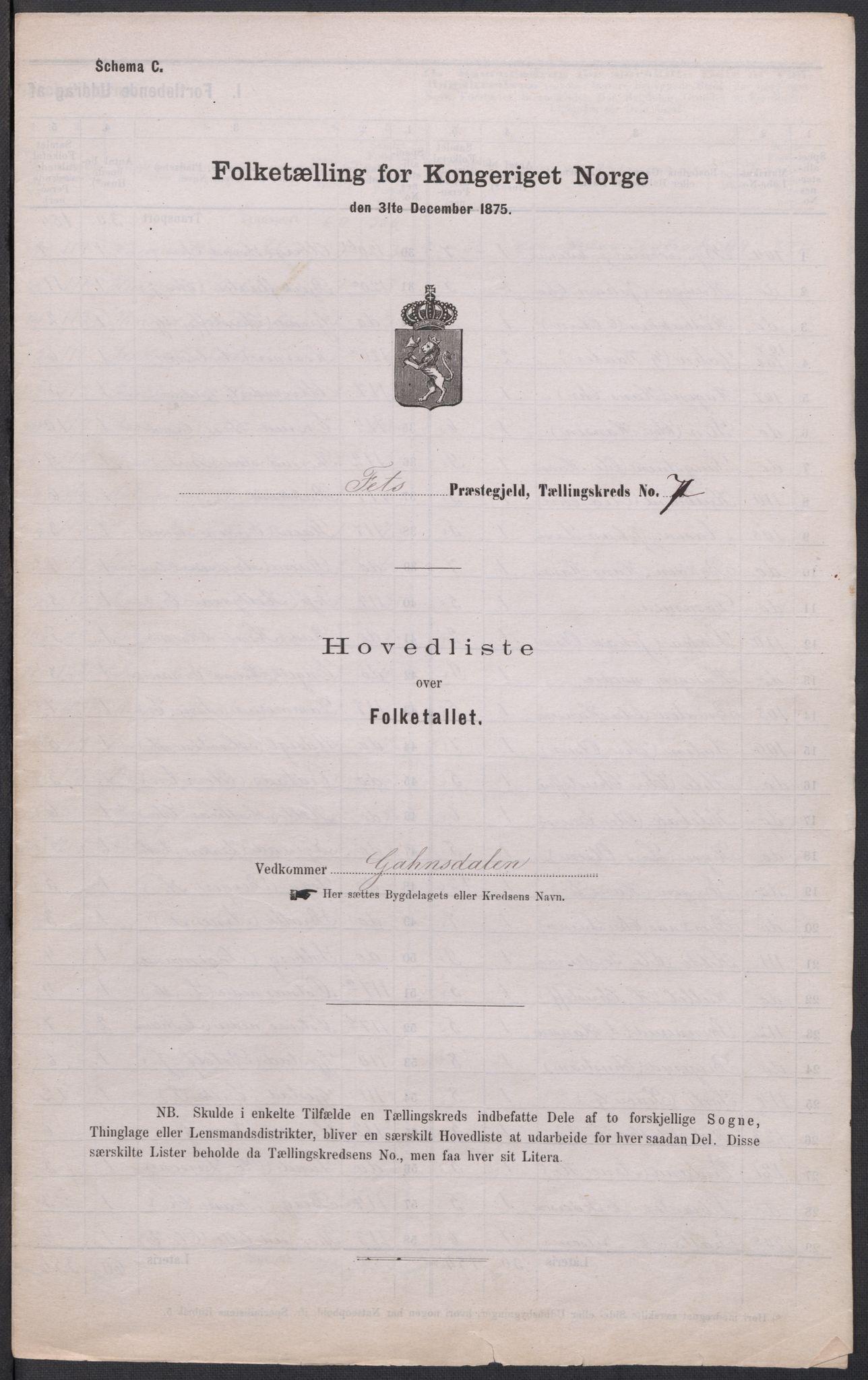 RA, Folketelling 1875 for 0227P Fet prestegjeld, 1875, s. 68