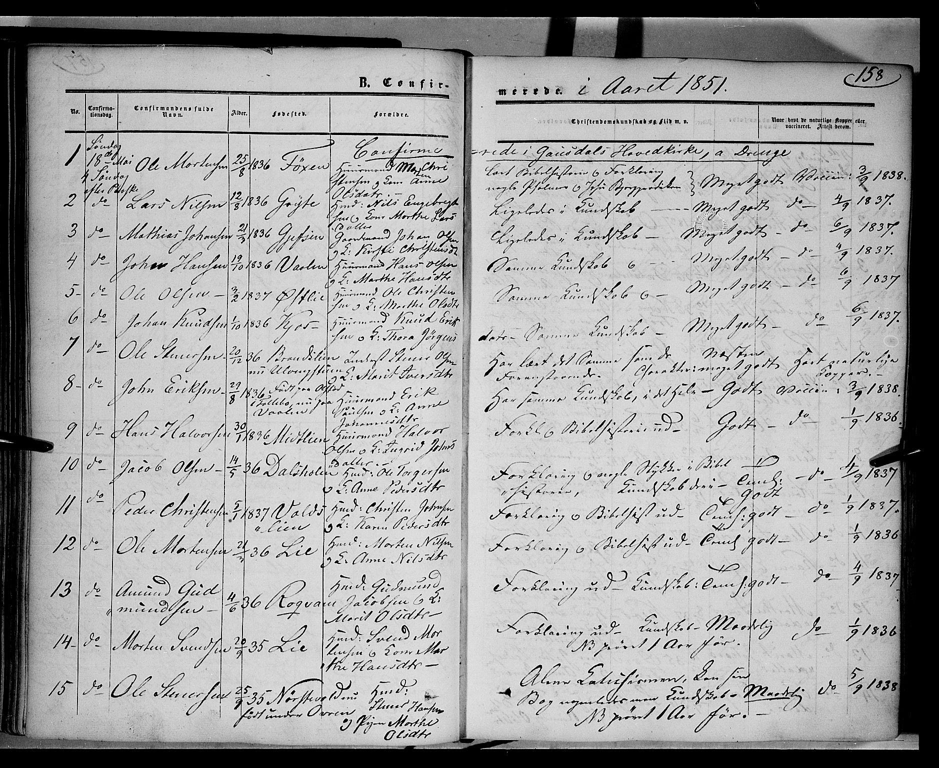 SAH, Gausdal prestekontor, Ministerialbok nr. 8, 1850-1861, s. 158