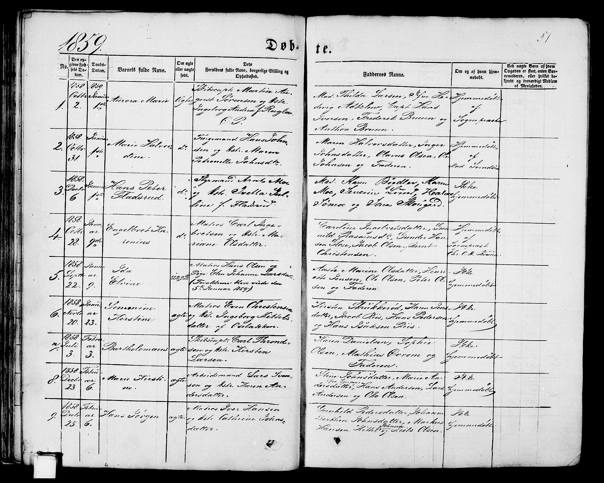 SAKO, Porsgrunn kirkebøker , G/Gb/L0004: Klokkerbok nr. II 4, 1853-1882, s. 51