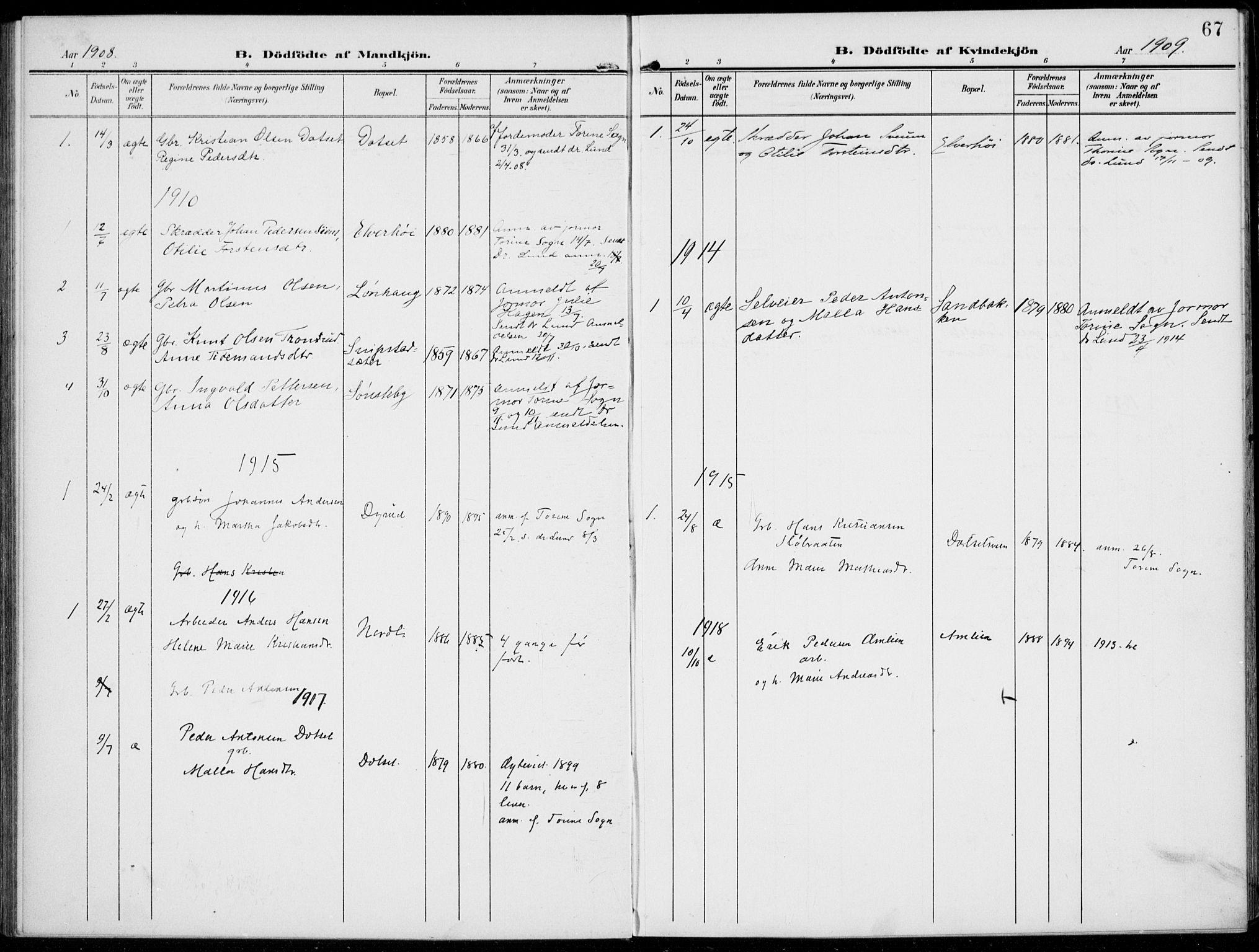 SAH, Kolbu prestekontor, Ministerialbok nr. 1, 1907-1923, s. 67
