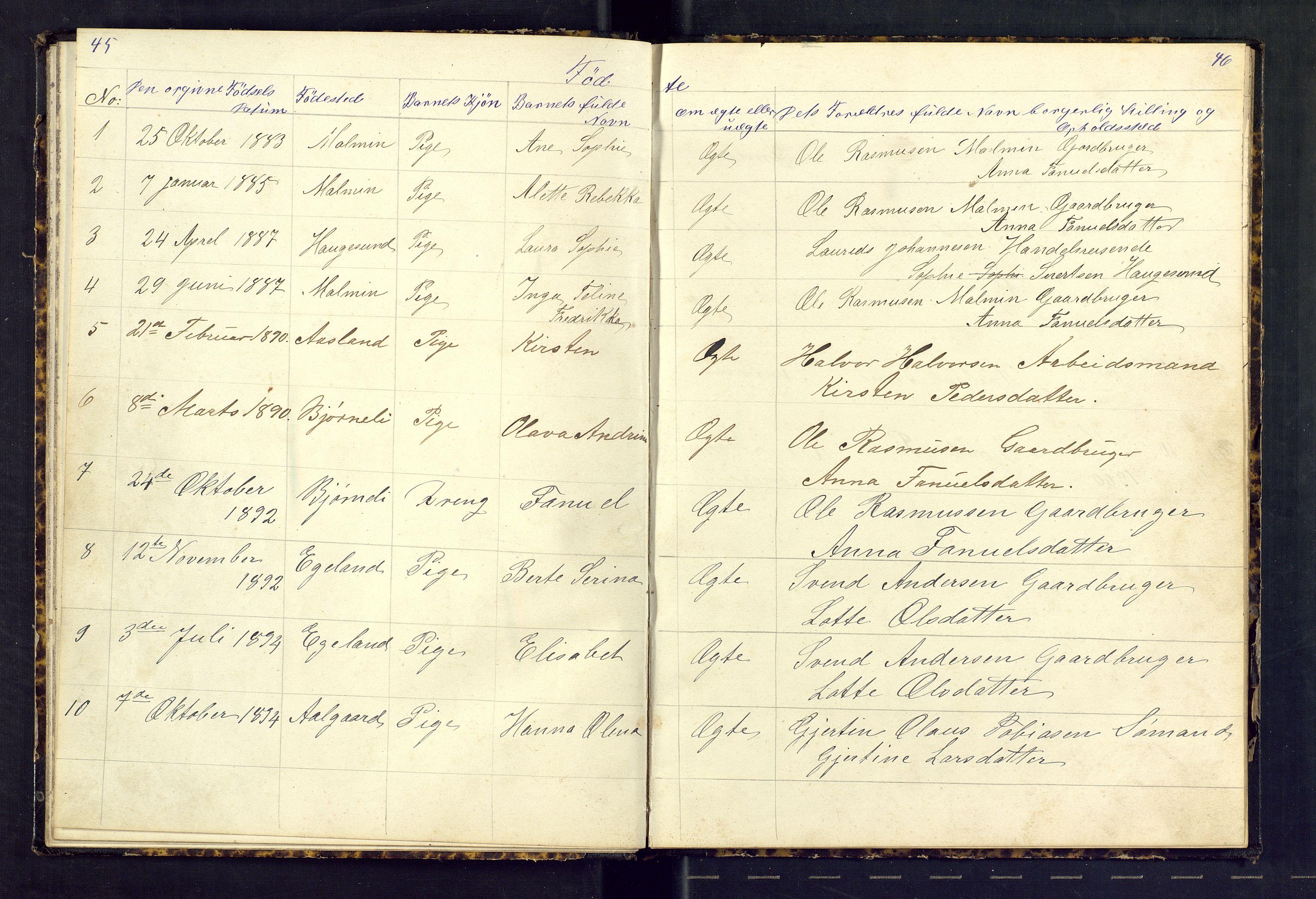 SAST, Den evangeliske lutherske frimenighet (SAS), Dissenterprotokoll nr. 1, 1881-1912, s. 45-46
