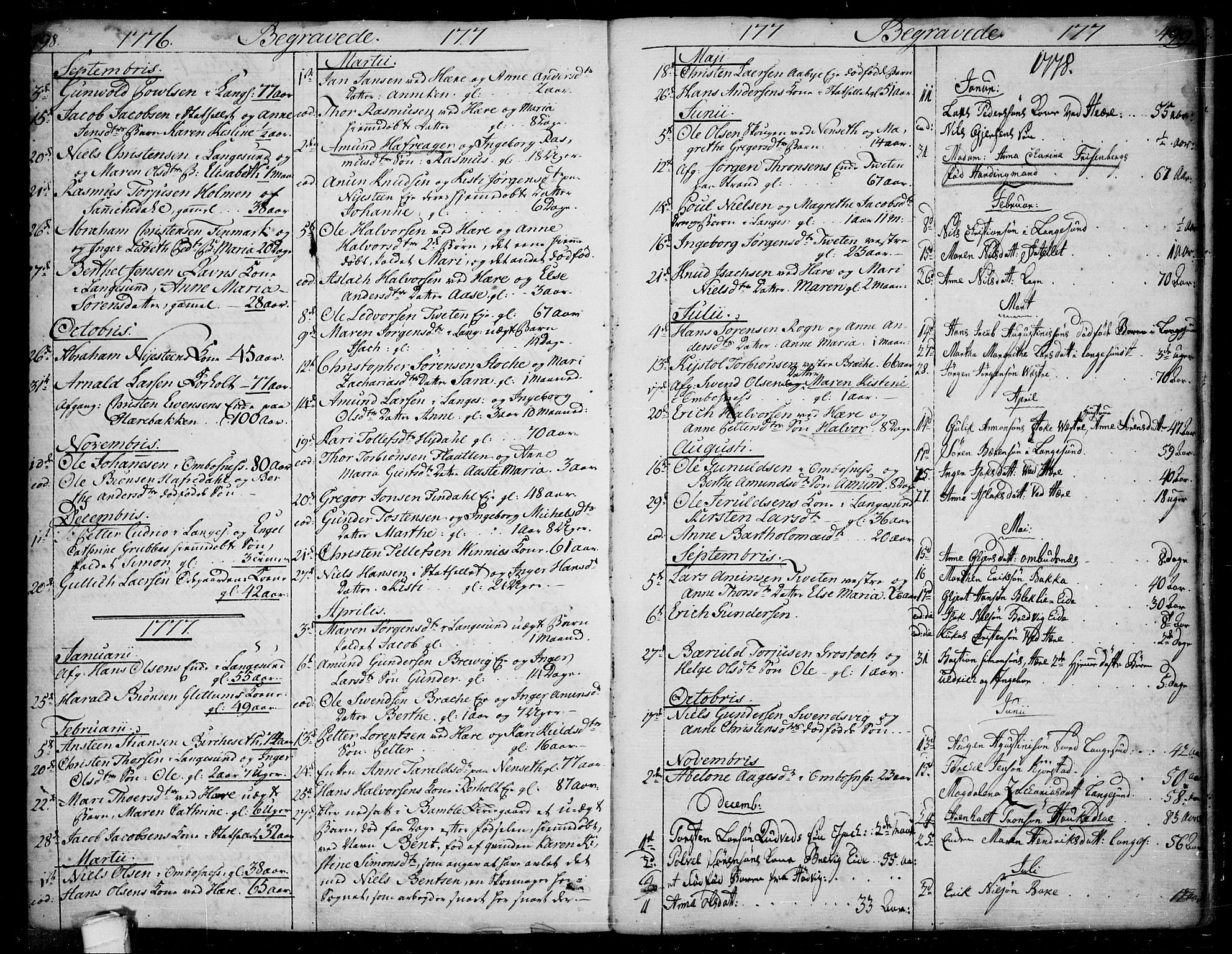 SAKO, Bamble kirkebøker, F/Fa/L0002: Ministerialbok nr. I 2, 1775-1814, s. 498-499