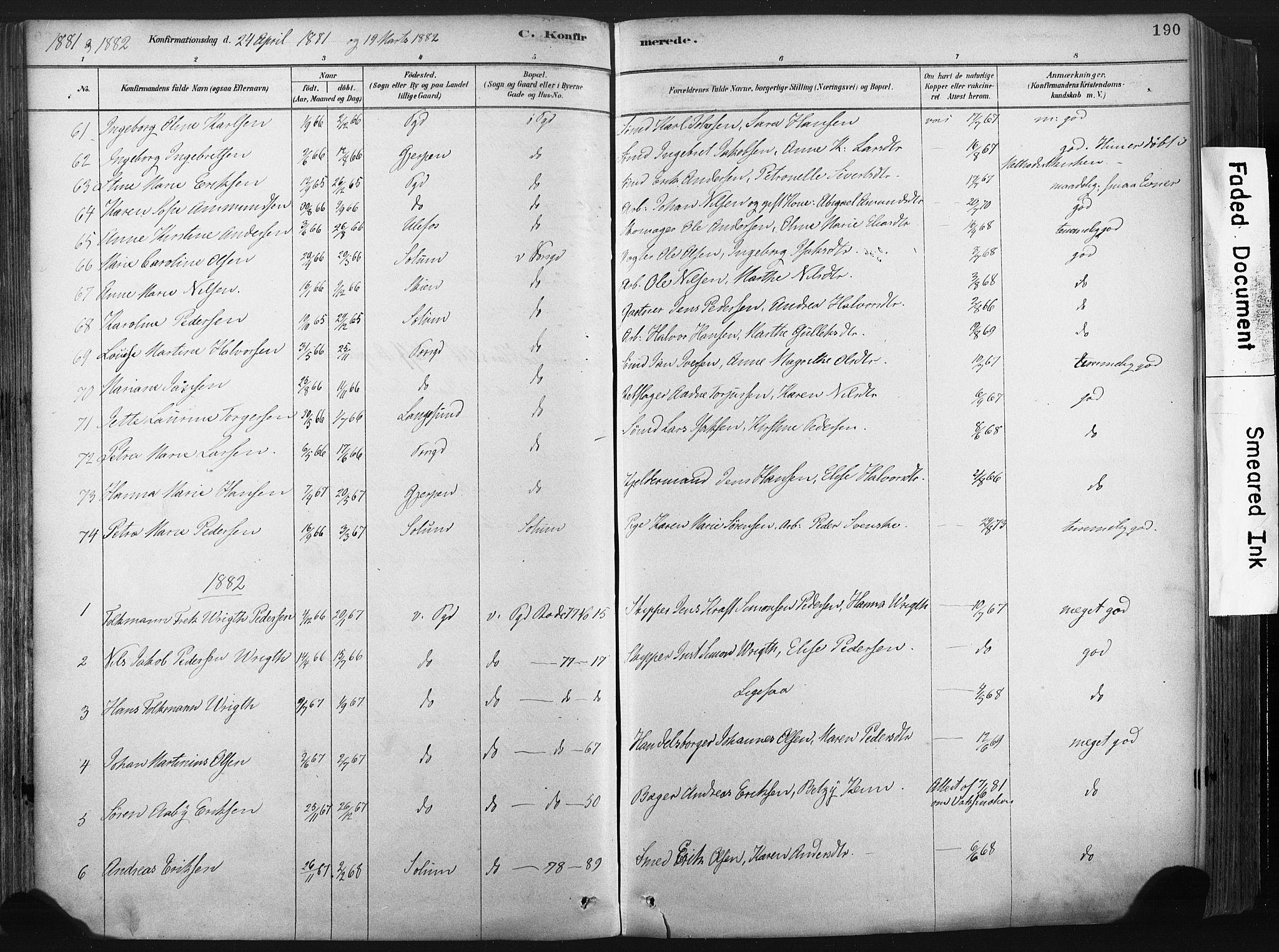 SAKO, Porsgrunn kirkebøker , F/Fa/L0008: Ministerialbok nr. 8, 1878-1895, s. 190