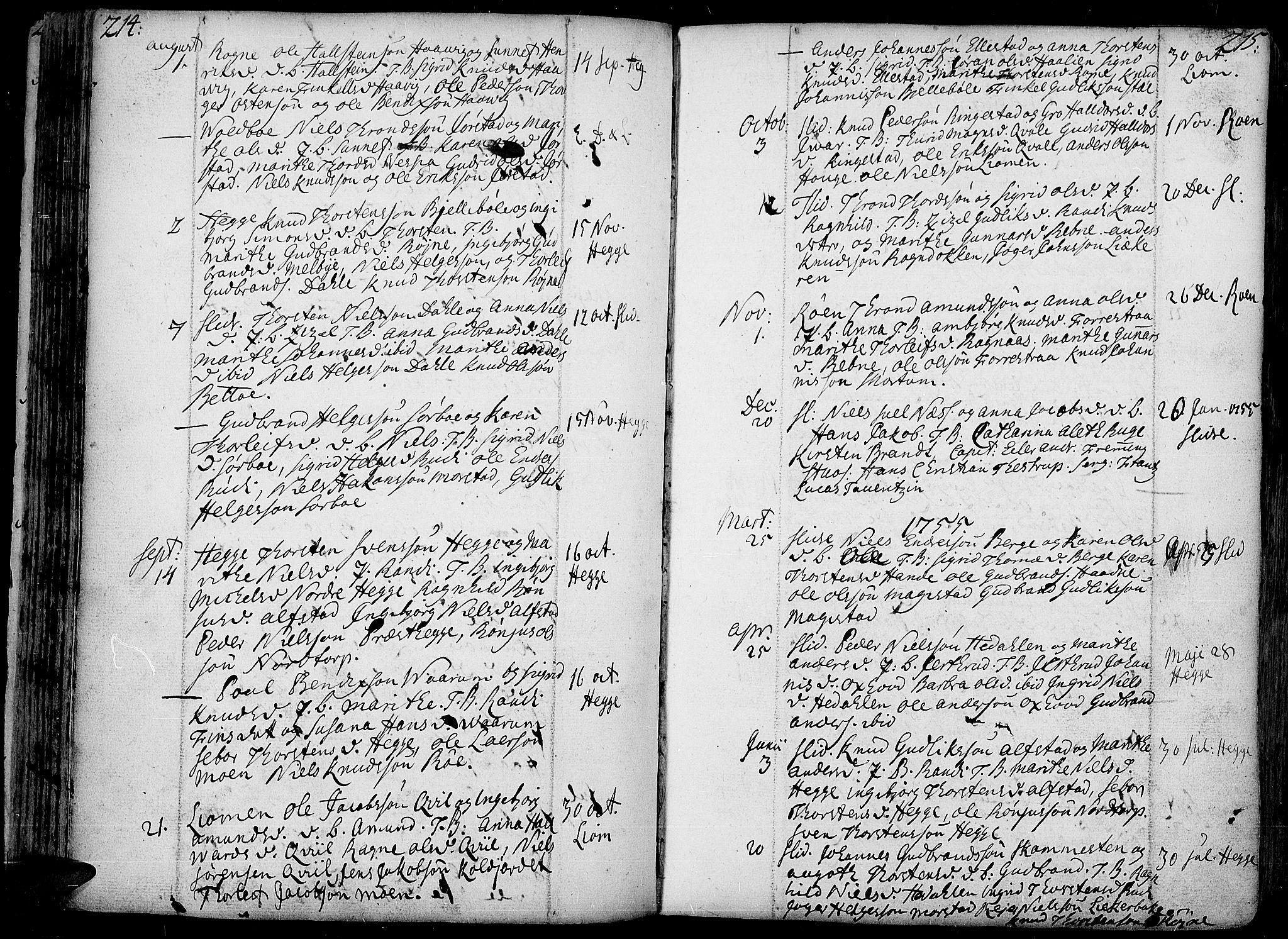 SAH, Slidre prestekontor, Ministerialbok nr. 1, 1724-1814, s. 214-215