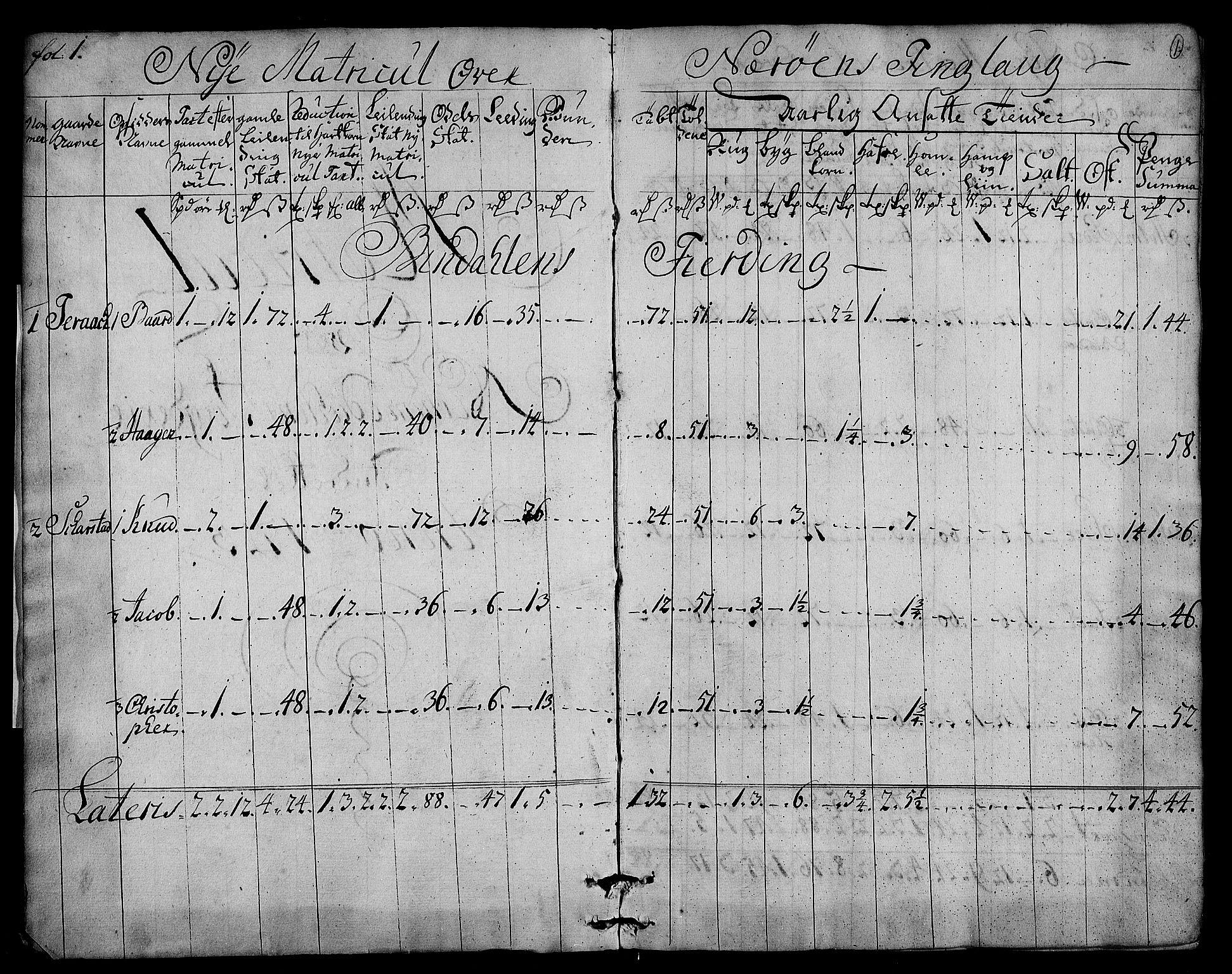 RA, Rentekammeret inntil 1814, Realistisk ordnet avdeling, N/Nb/Nbf/L0169: Namdalen matrikkelprotokoll, 1723, s. 1a