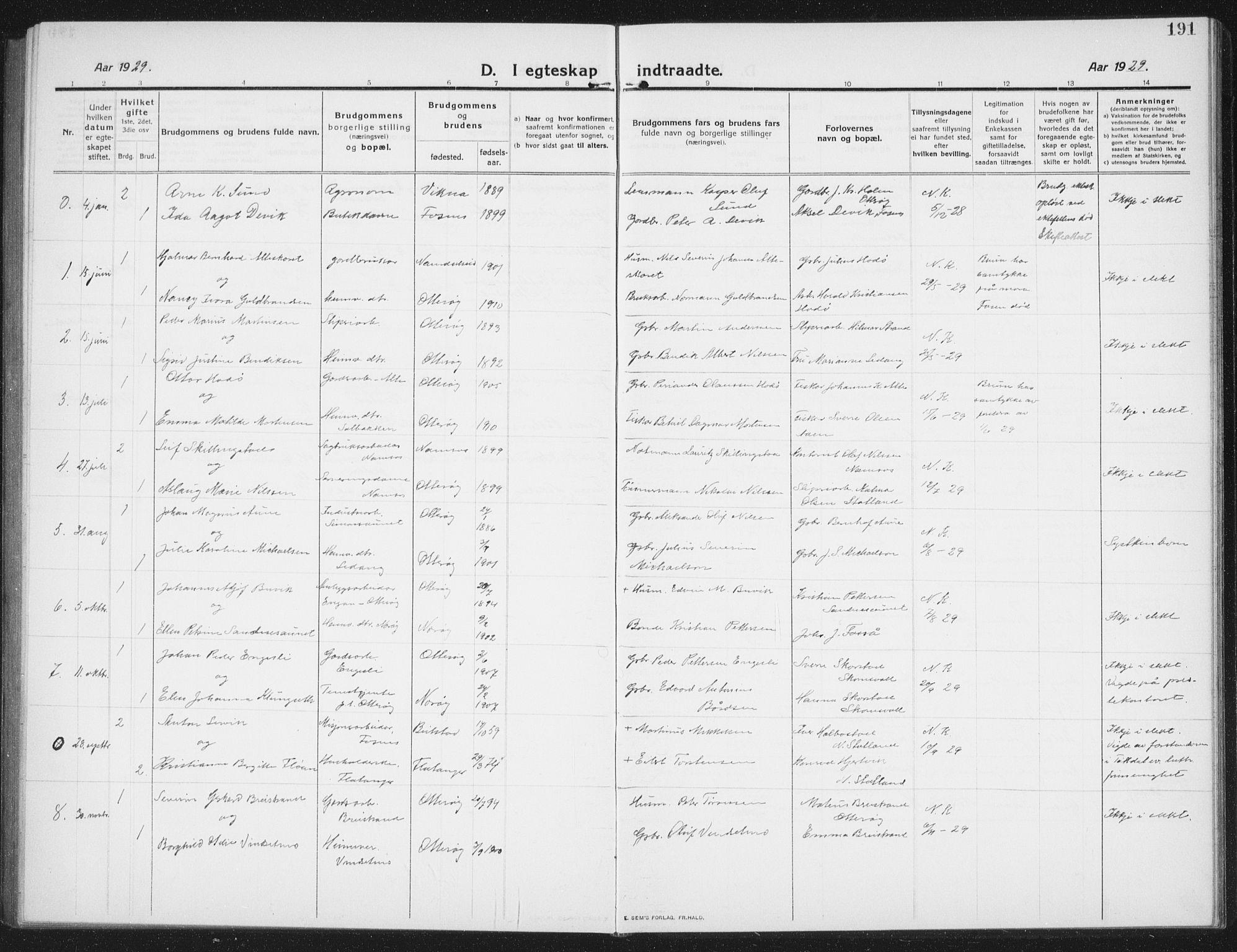 SAT, Ministerialprotokoller, klokkerbøker og fødselsregistre - Nord-Trøndelag, 774/L0630: Klokkerbok nr. 774C01, 1910-1934, s. 191