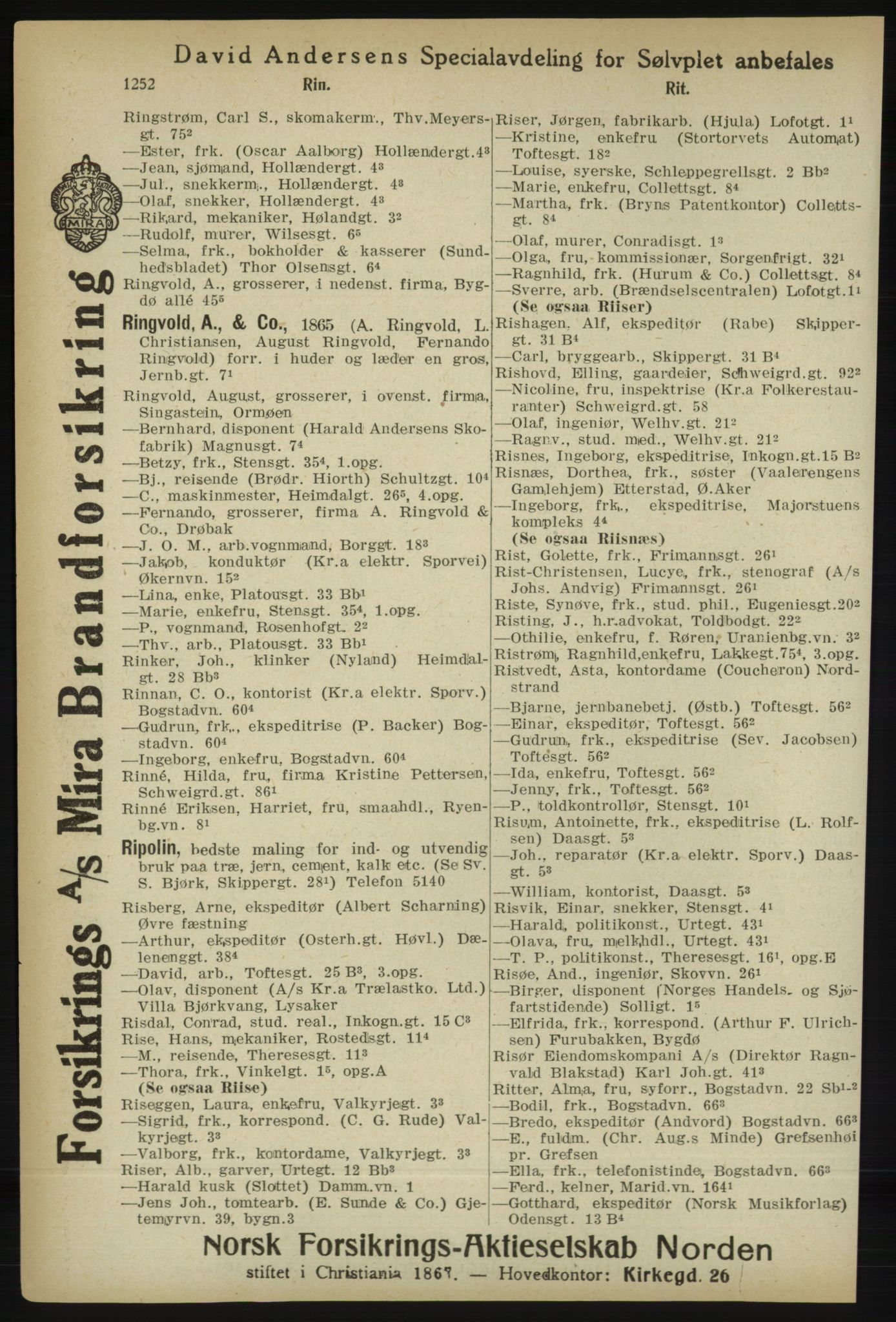 PUBL, Kristiania/Oslo adressebok, 1918, s. 1277