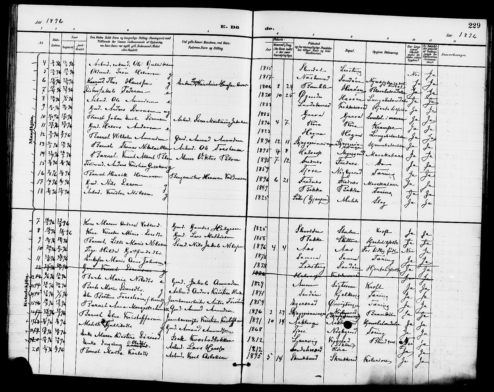 SAKO, Eidanger kirkebøker, G/Ga/L0003: Klokkerbok nr. 3, 1893-1911, s. 229