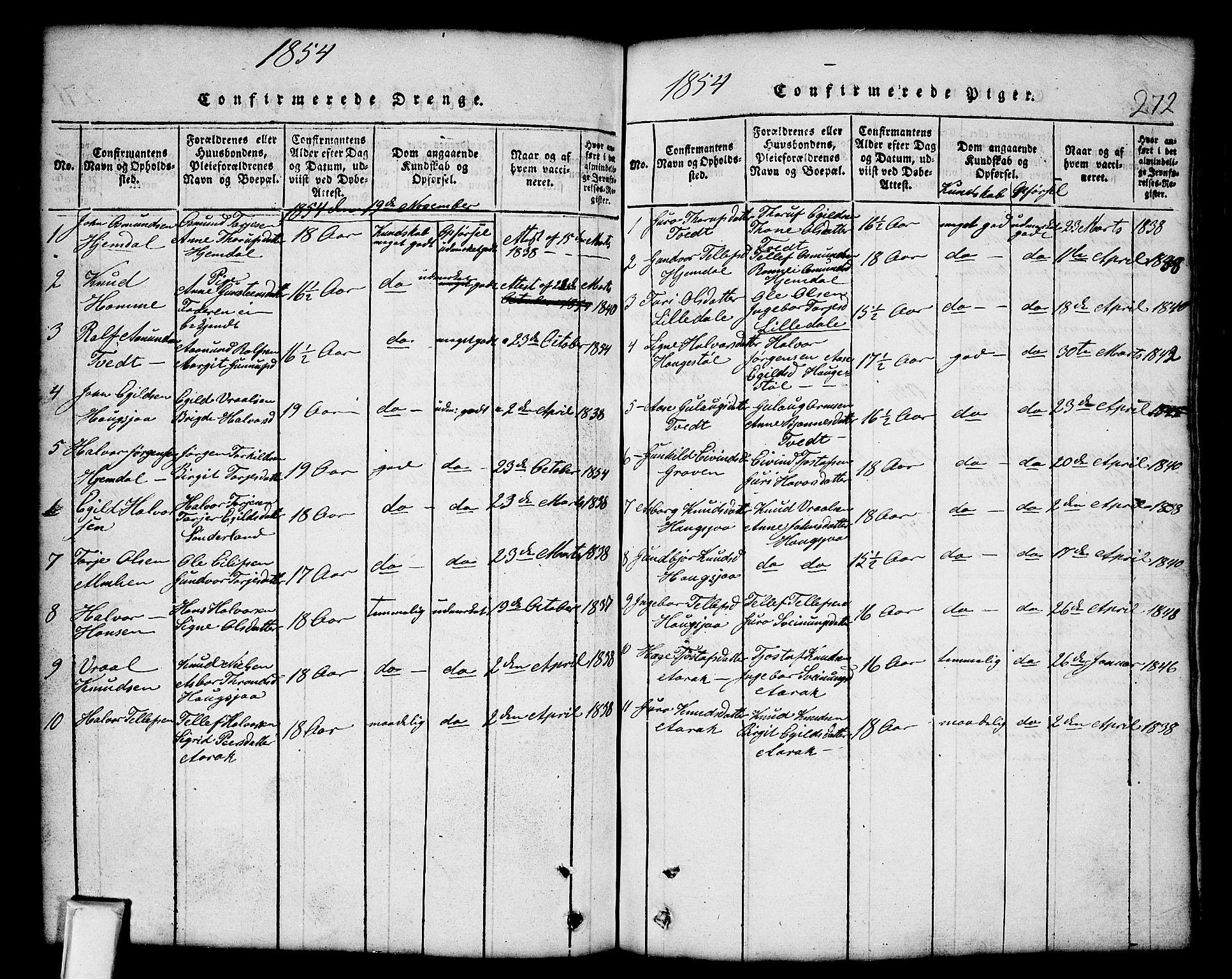 SAKO, Nissedal kirkebøker, G/Gb/L0001: Klokkerbok nr. II 1, 1814-1862, s. 272