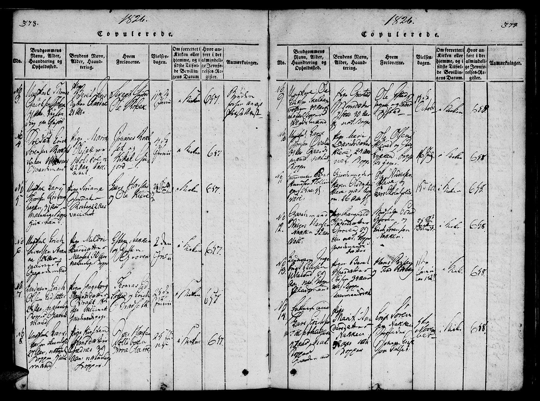 SAT, Ministerialprotokoller, klokkerbøker og fødselsregistre - Møre og Romsdal, 557/L0679: Ministerialbok nr. 557A01, 1818-1843, s. 378-379