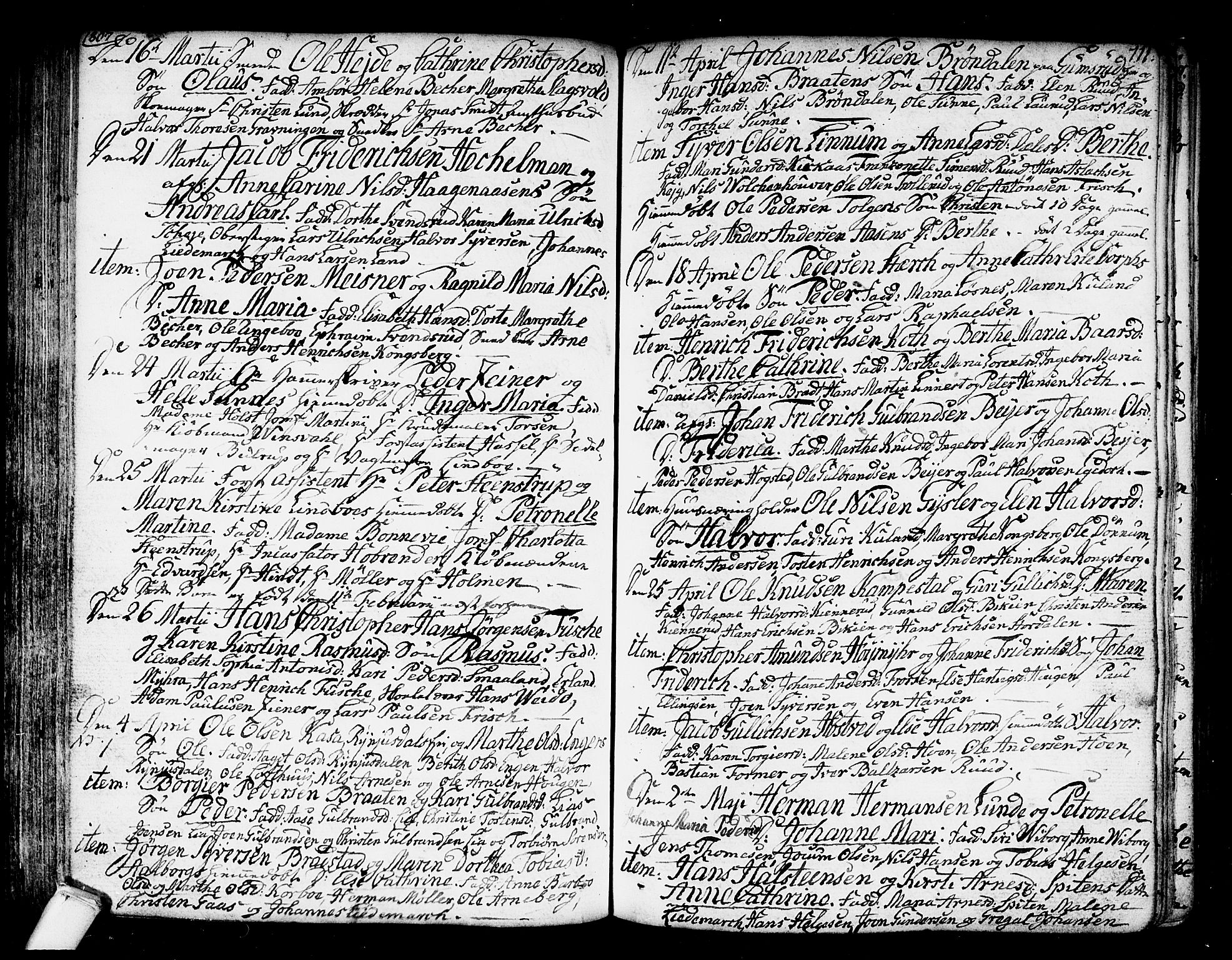 SAKO, Kongsberg kirkebøker, F/Fa/L0007: Ministerialbok nr. I 7, 1795-1816, s. 111