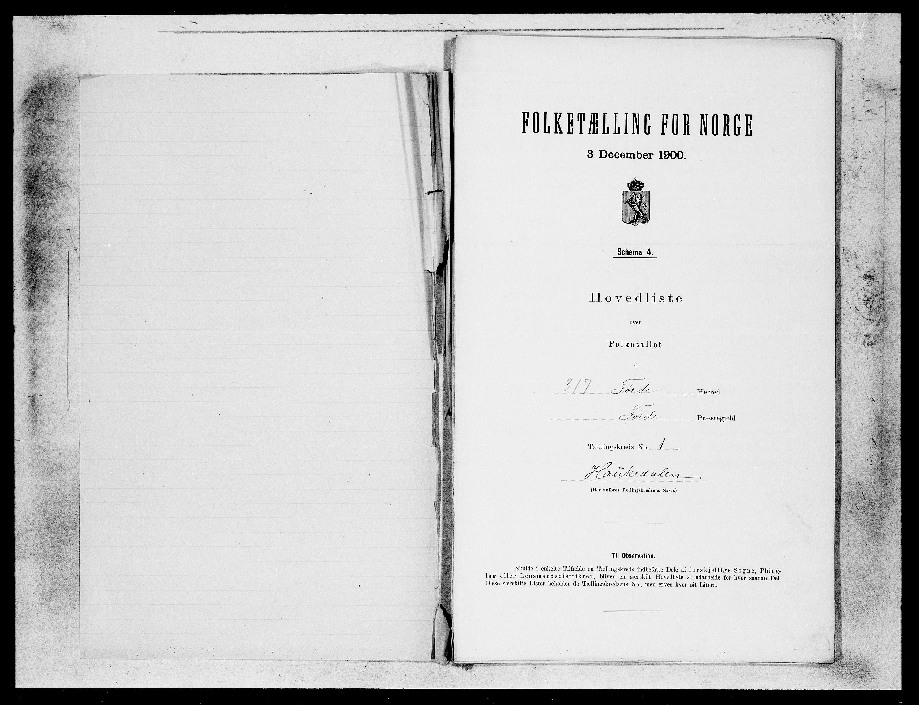 SAB, Folketelling 1900 for 1432 Førde herred, 1900, s. 1