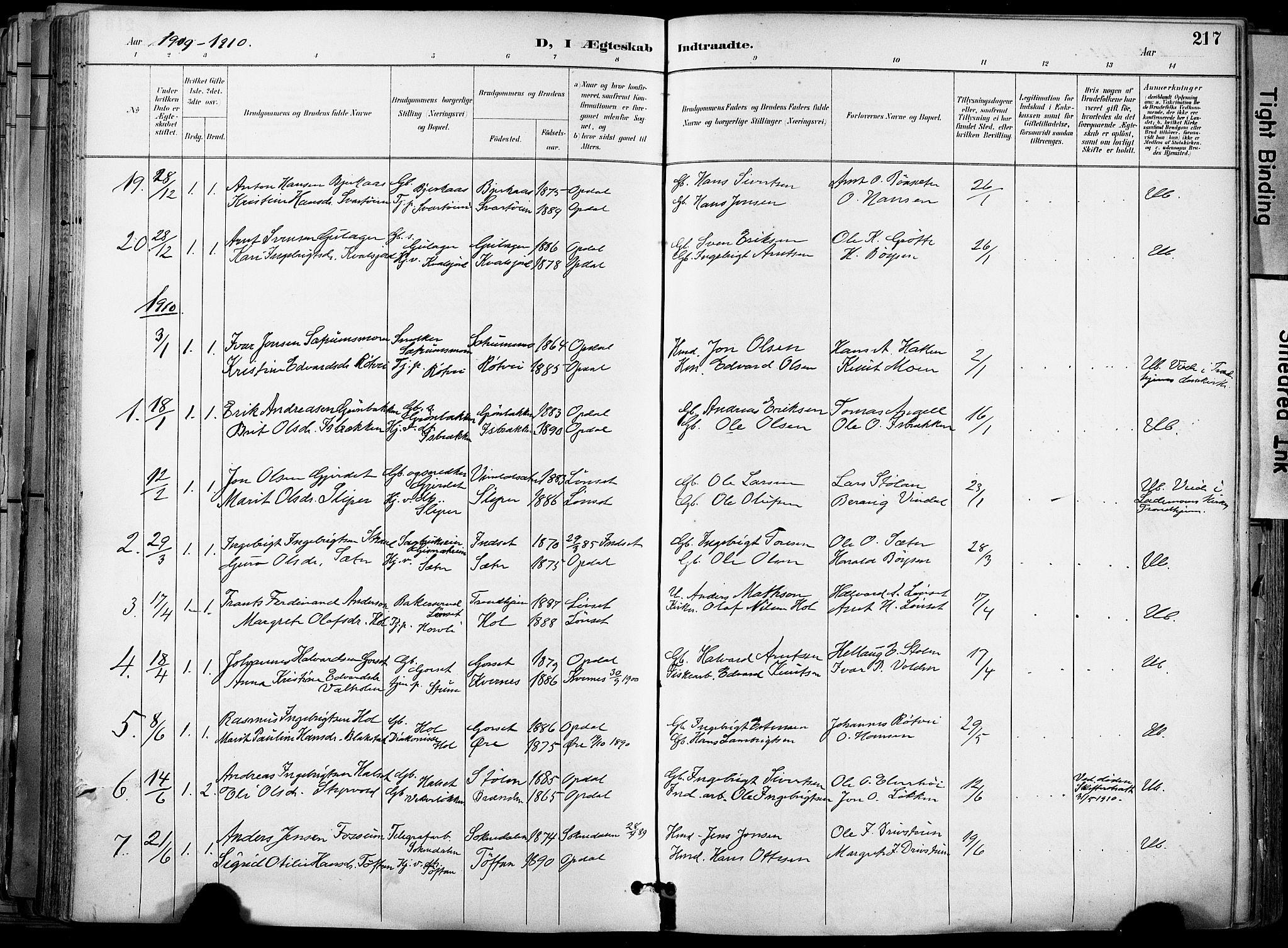 SAT, Ministerialprotokoller, klokkerbøker og fødselsregistre - Sør-Trøndelag, 678/L0902: Ministerialbok nr. 678A11, 1895-1911, s. 217