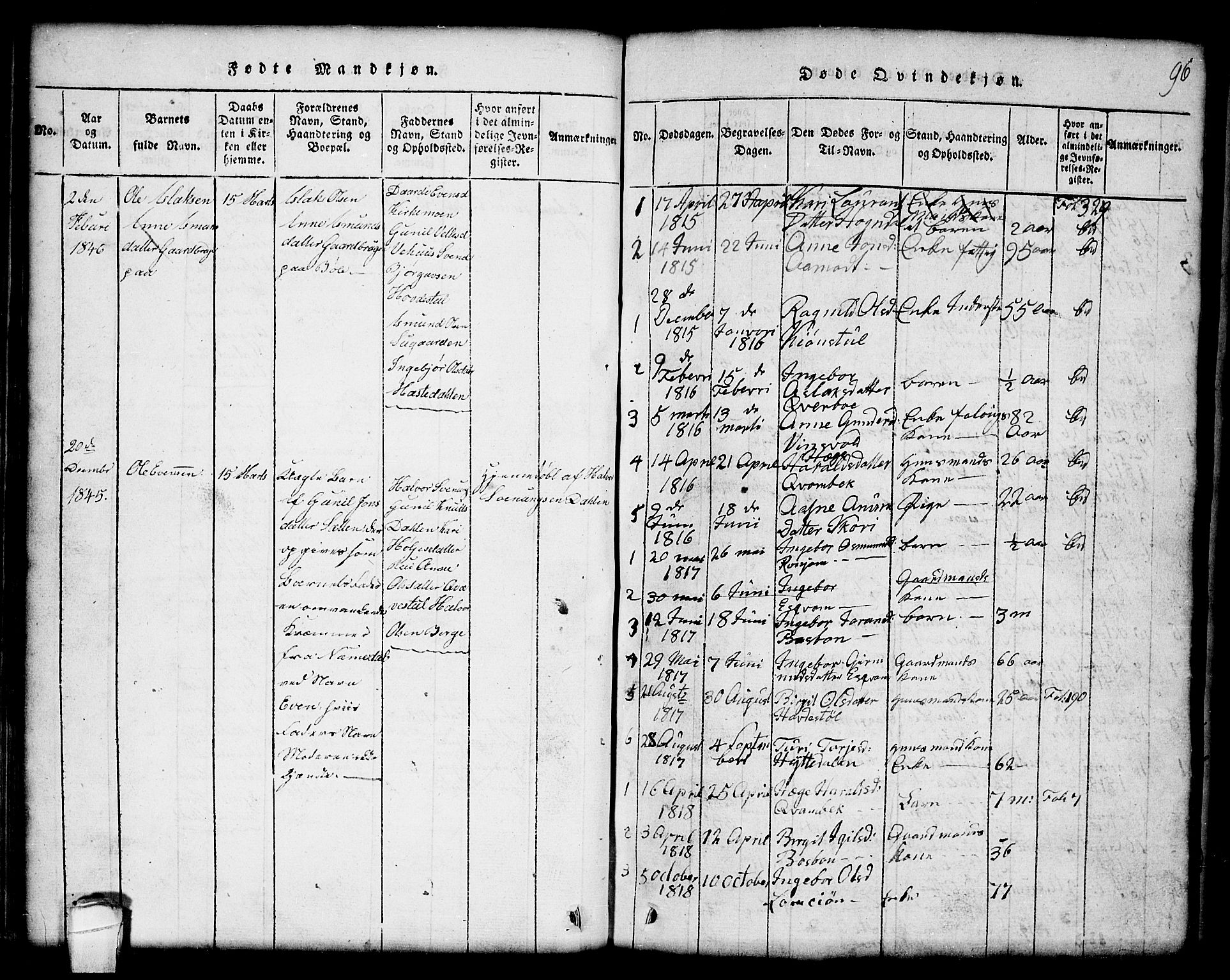 SAKO, Seljord kirkebøker, G/Gc/L0001: Klokkerbok nr. III 1, 1815-1849, s. 96