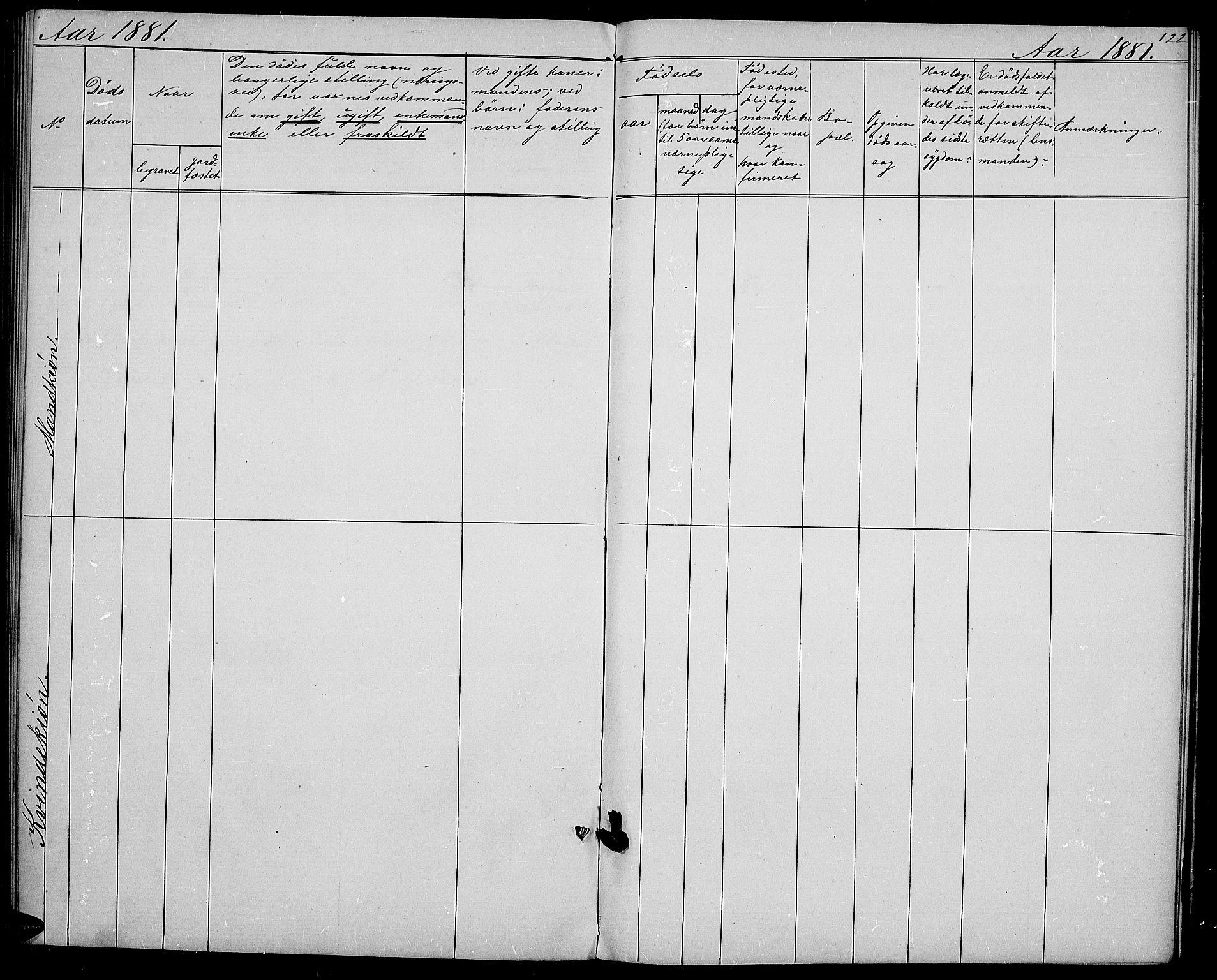 SAH, Vestre Slidre prestekontor, Klokkerbok nr. 1, 1869-1882, s. 122