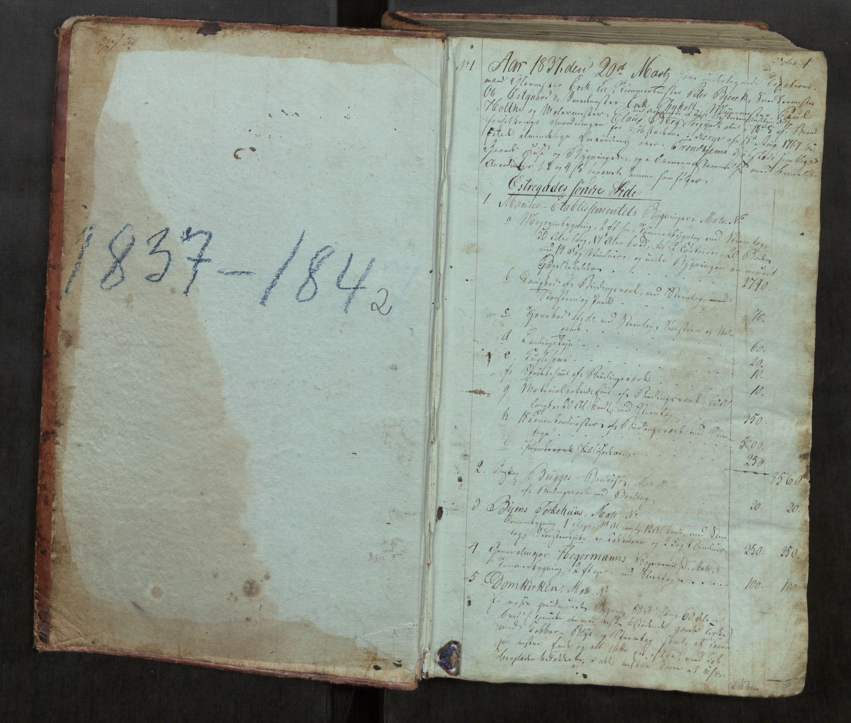 SAT, Norges Brannkasse Trondheim magistrat, Fa/L0013: Branntakstprotokoll K15, 1837-1842, s. 1