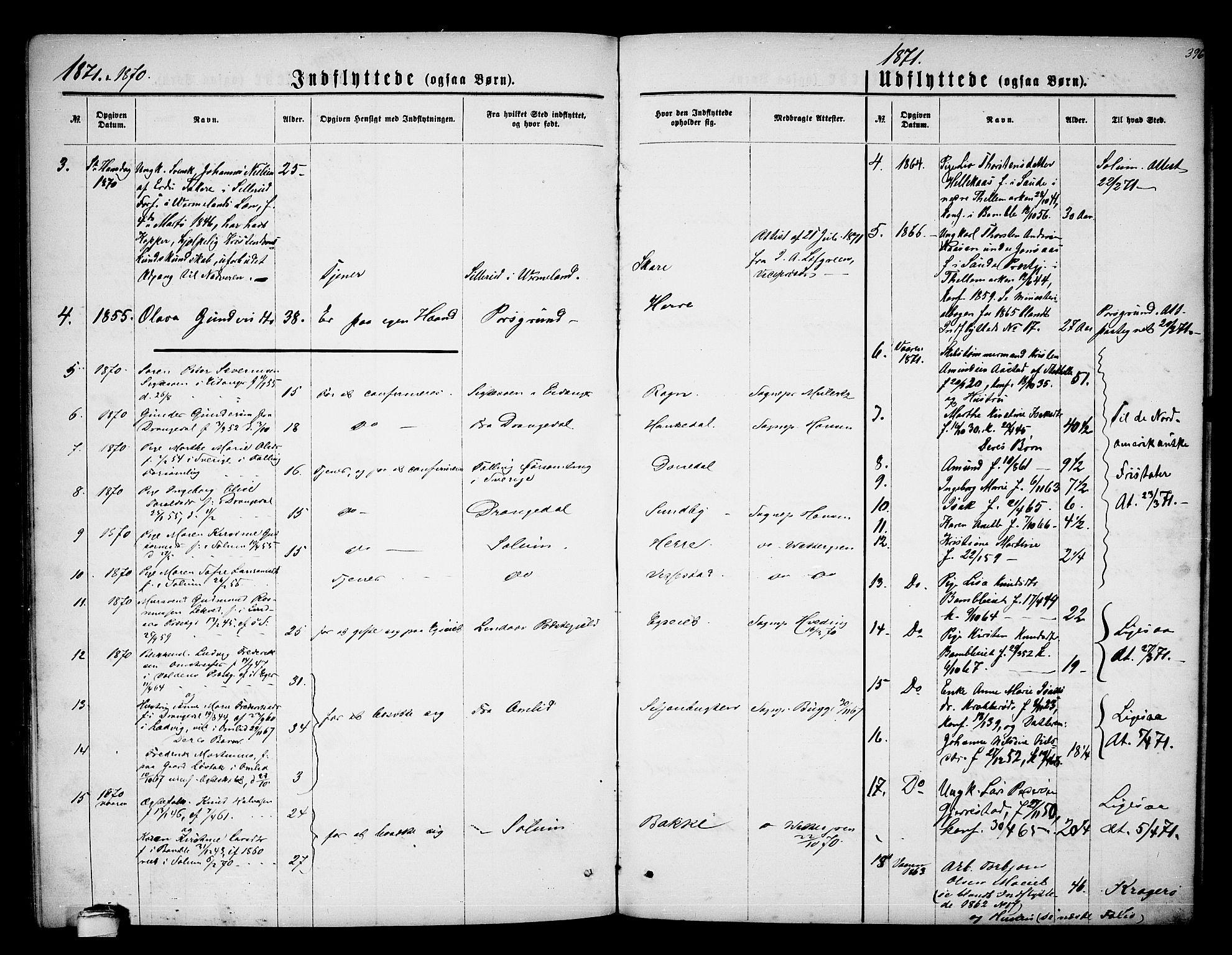 SAKO, Bamble kirkebøker, G/Ga/L0006: Klokkerbok nr. I 6, 1860-1876, s. 396