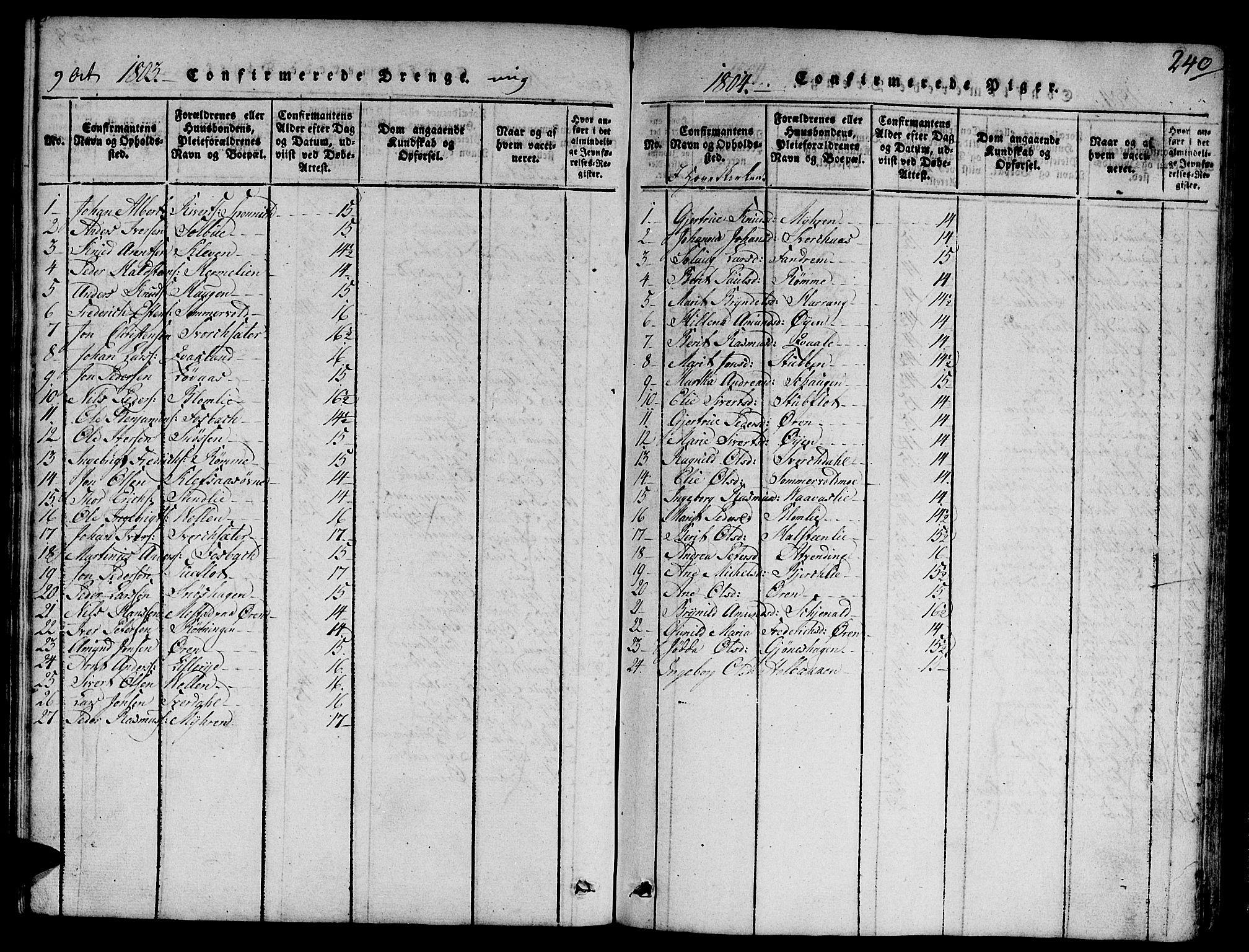 SAT, Ministerialprotokoller, klokkerbøker og fødselsregistre - Sør-Trøndelag, 668/L0803: Ministerialbok nr. 668A03, 1800-1826, s. 240