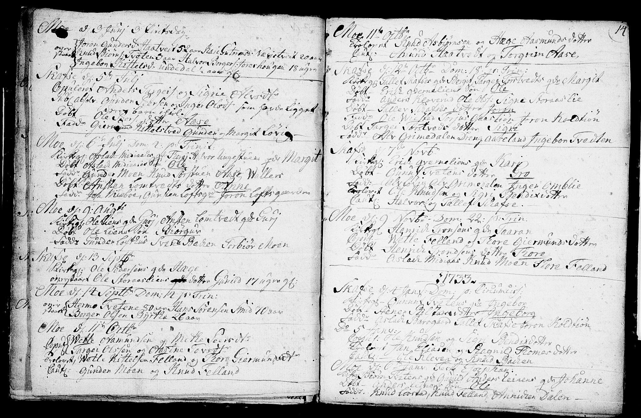 SAKO, Mo kirkebøker, F/Fa/L0001: Ministerialbok nr. I 1, 1724-1748, s. 14