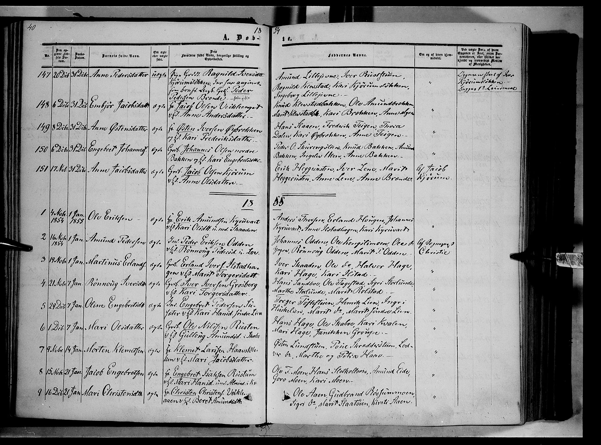 SAH, Nord-Fron prestekontor, Ministerialbok nr. 1, 1851-1864, s. 40