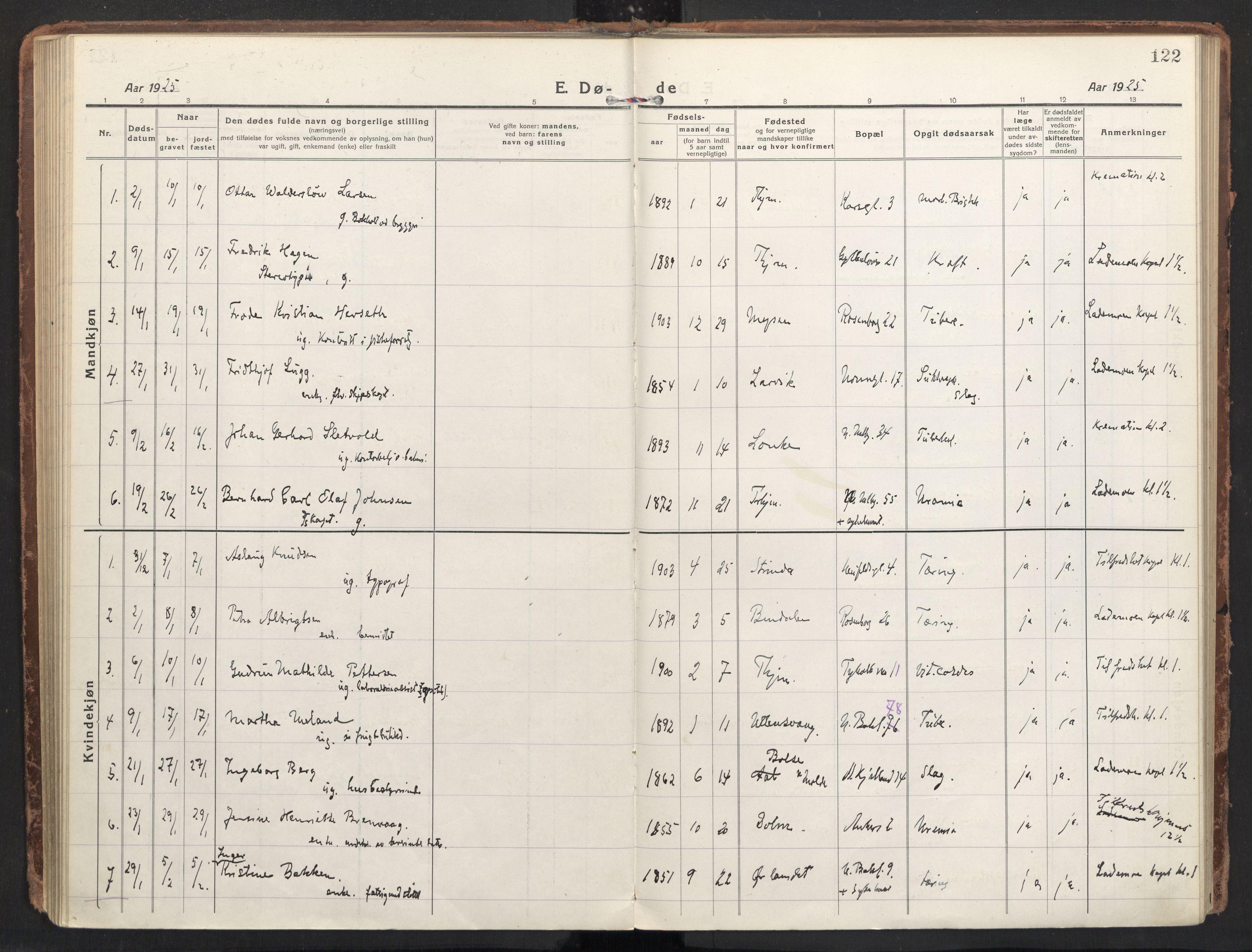 SAT, Ministerialprotokoller, klokkerbøker og fødselsregistre - Sør-Trøndelag, 604/L0207: Ministerialbok nr. 604A27, 1917-1933, s. 122
