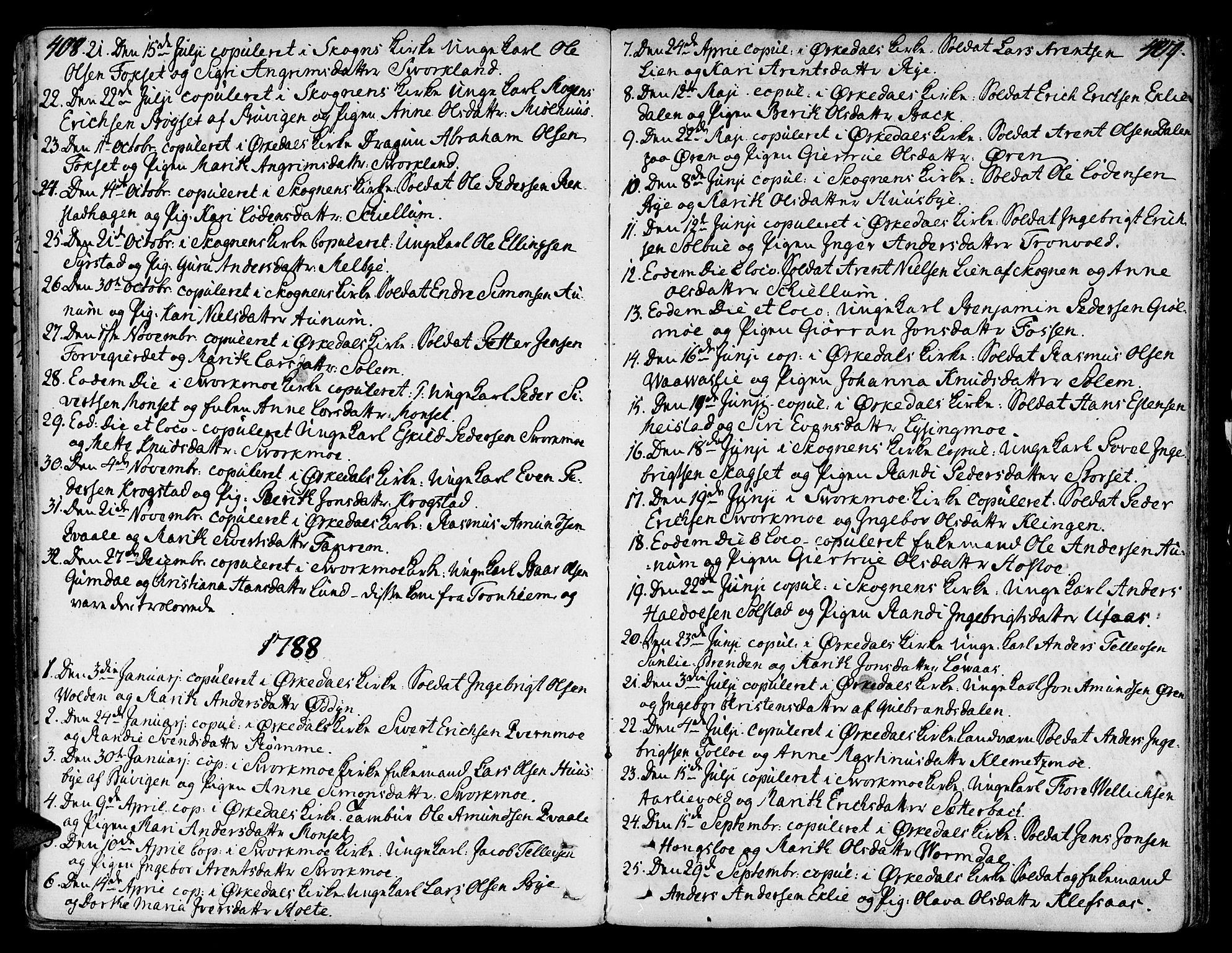 SAT, Ministerialprotokoller, klokkerbøker og fødselsregistre - Sør-Trøndelag, 668/L0802: Ministerialbok nr. 668A02, 1776-1799, s. 408-409