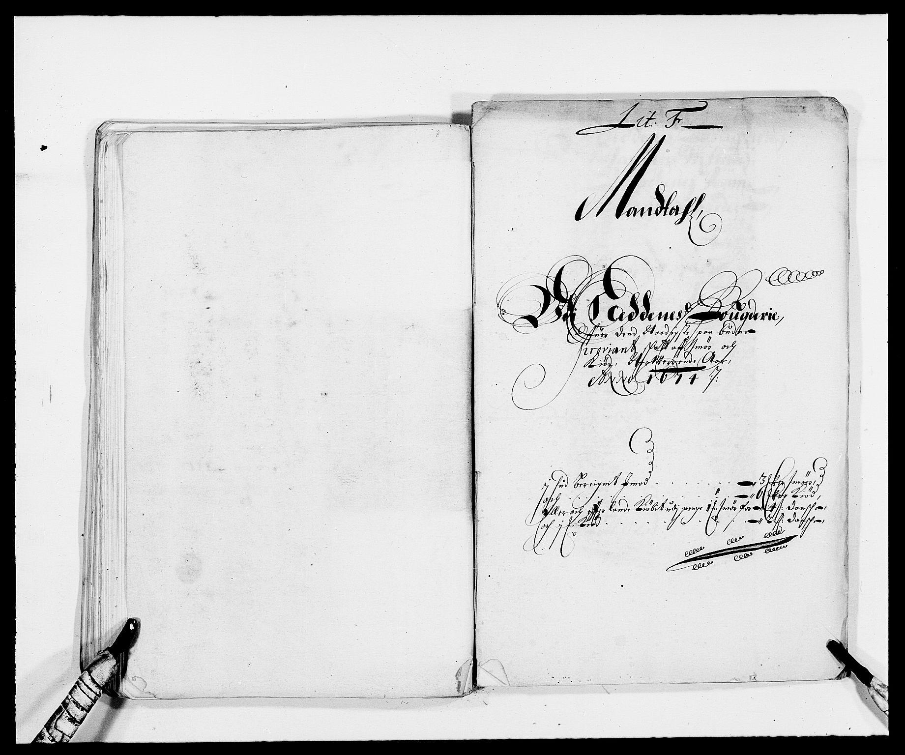 RA, Rentekammeret inntil 1814, Reviderte regnskaper, Fogderegnskap, R39/L2300: Fogderegnskap Nedenes, 1672-1674, s. 399